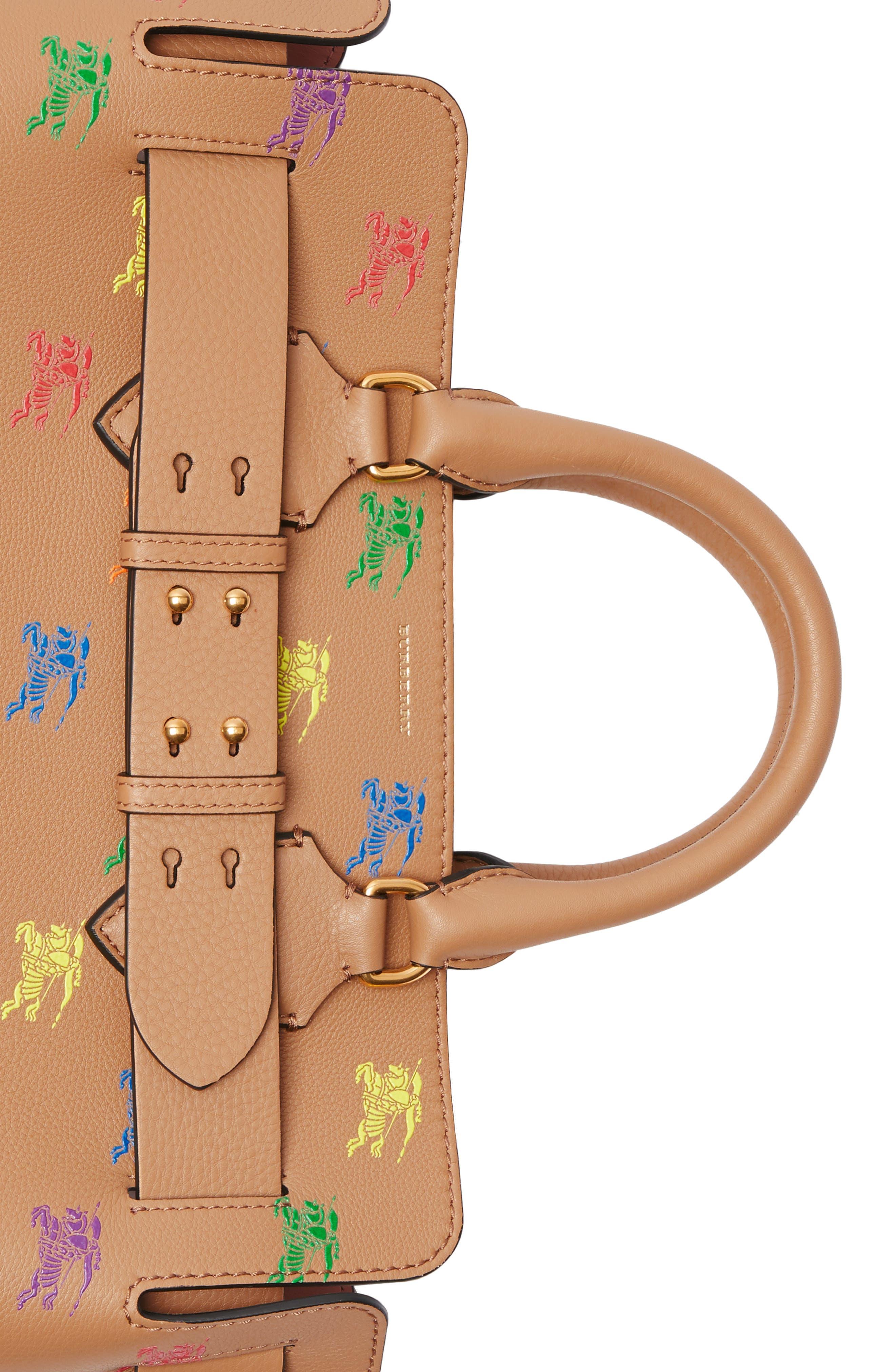 Baby Belt Bag Rainbow Logo Leather Tote,                             Alternate thumbnail 7, color,                             LIGHT CAMEL