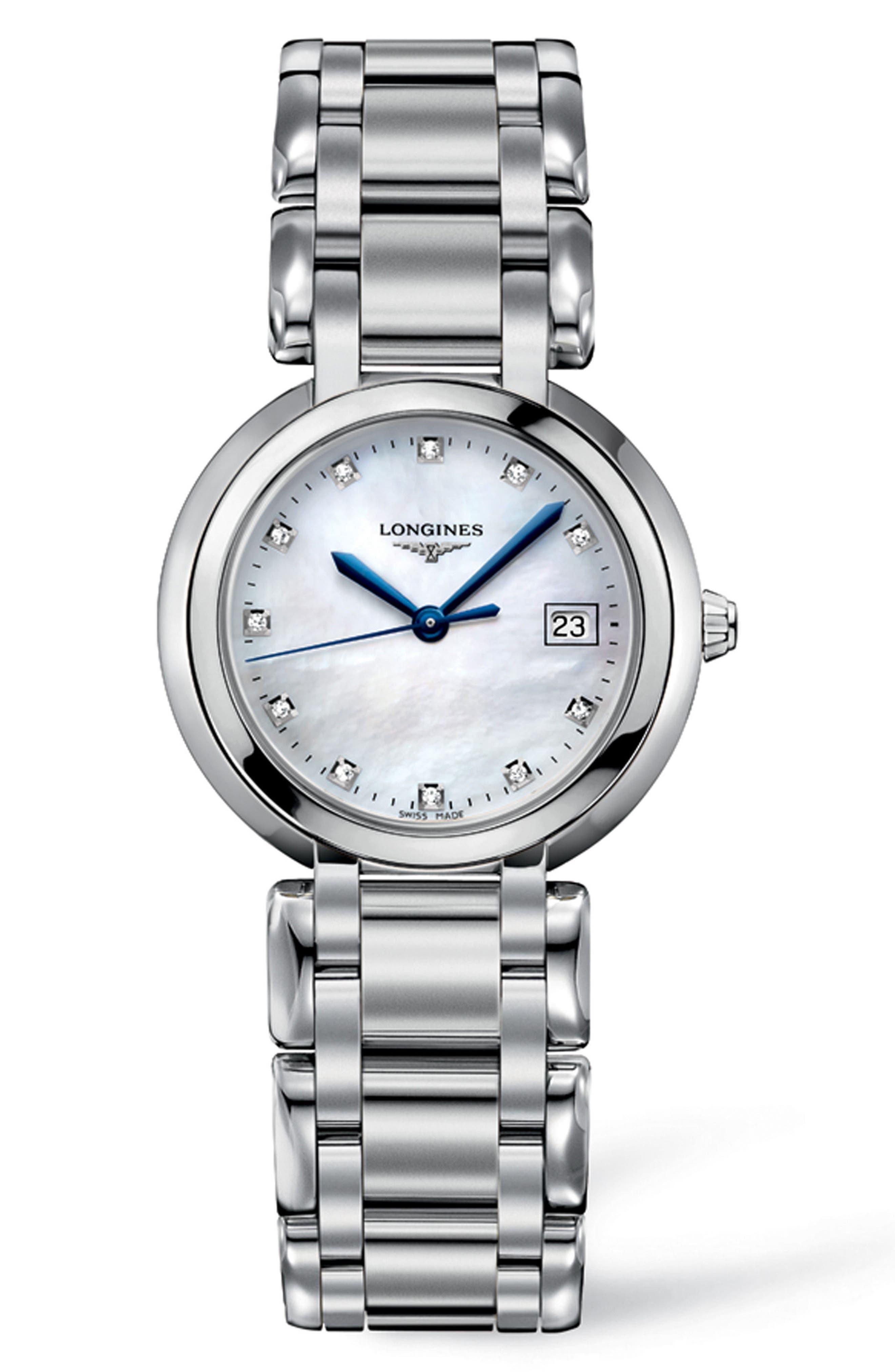 PrimaLuna Diamond Bracelet Watch, 30mm,                         Main,                         color, SILVER/ MOP/ SILVER