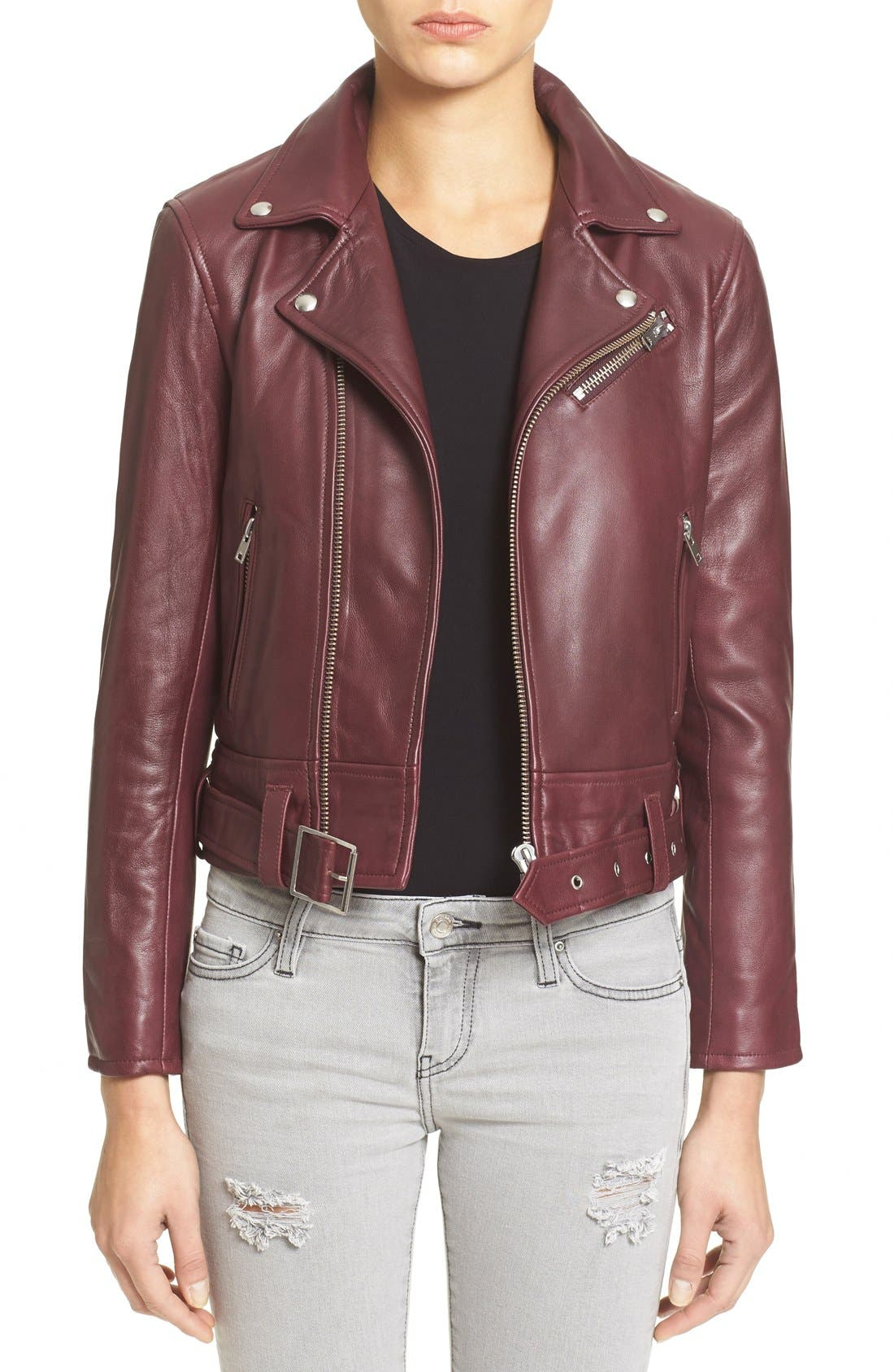 IRO 'Gant' Belted Leather Jacket, Main, color, 950