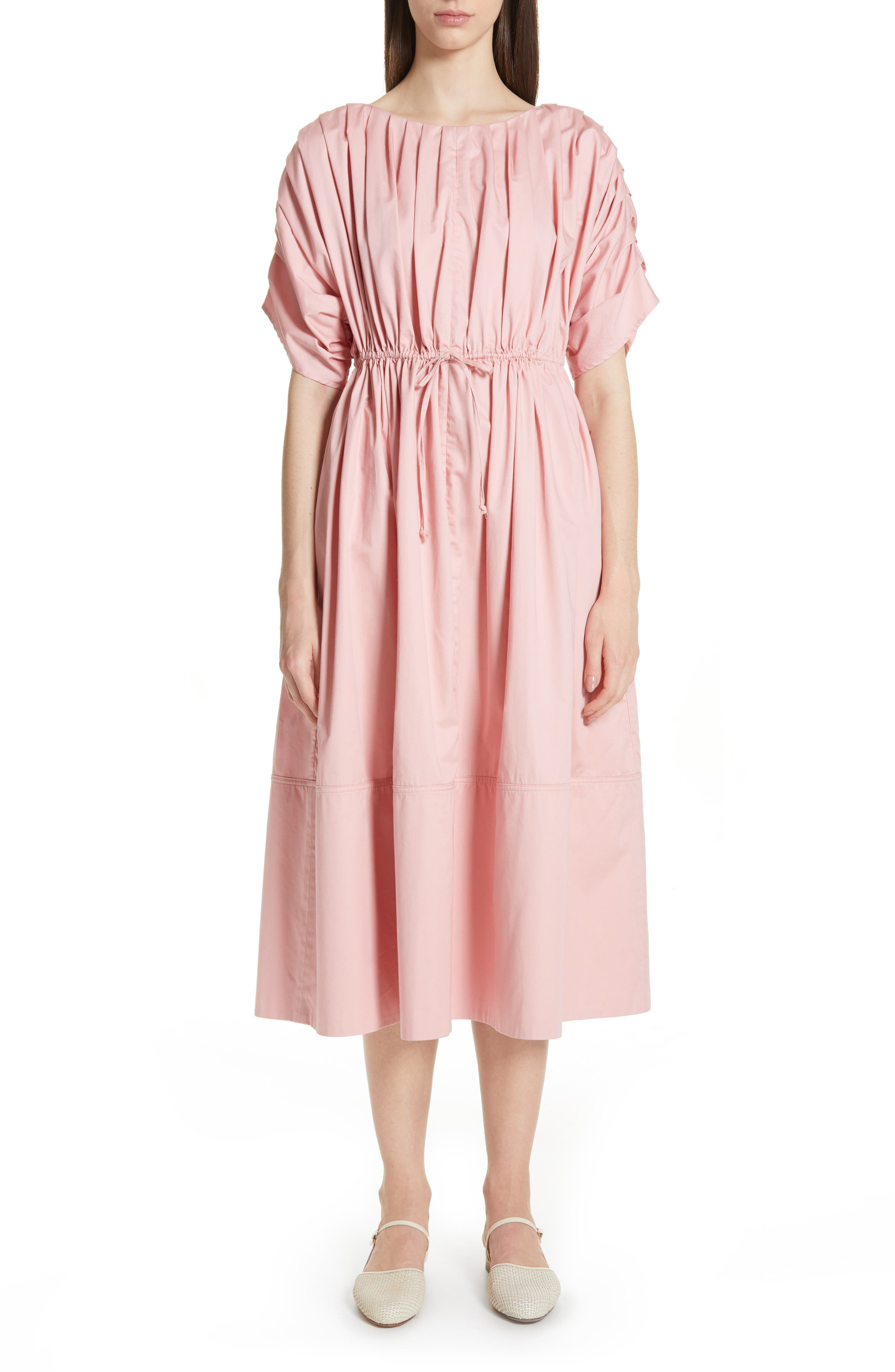 Pleated Cotton Midi Dress, Main, color, PINK