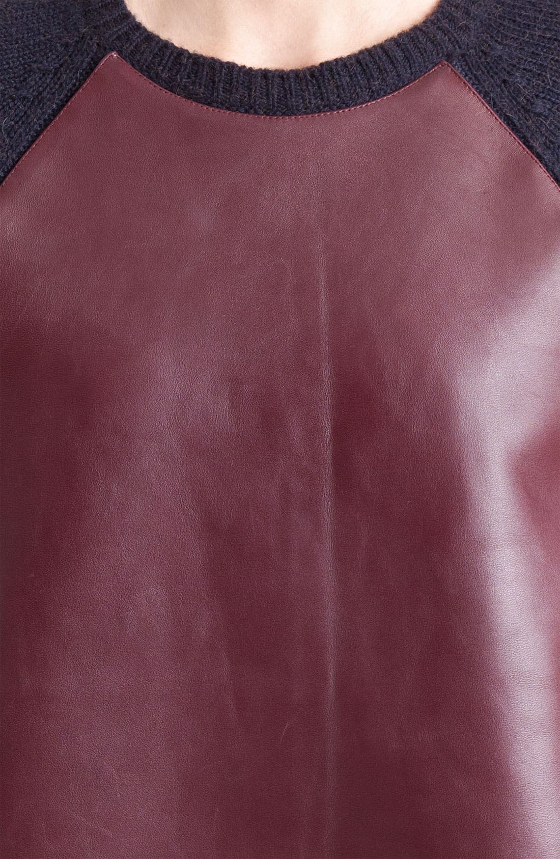 Leather Front Sweater,                             Alternate thumbnail 2, color,                             010