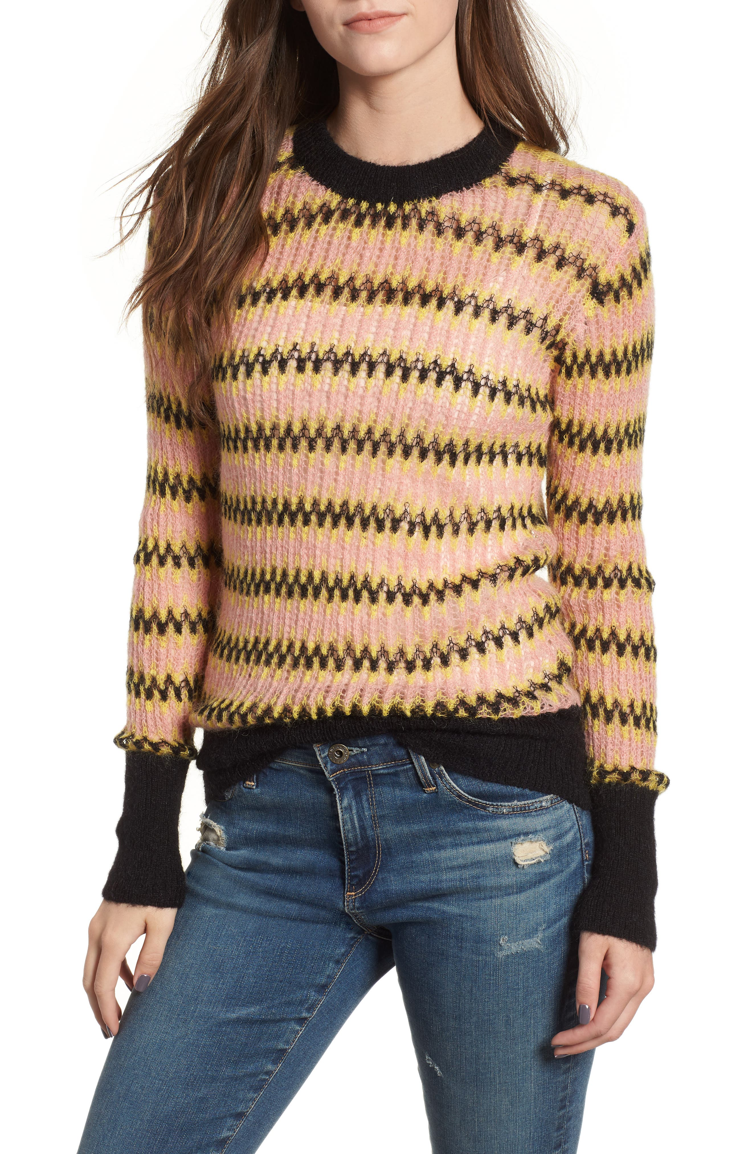Zig Zag Wool Blend Sweater,                             Main thumbnail 1, color,                             MULTI PINK YELLOW ZIGZAG PRINT