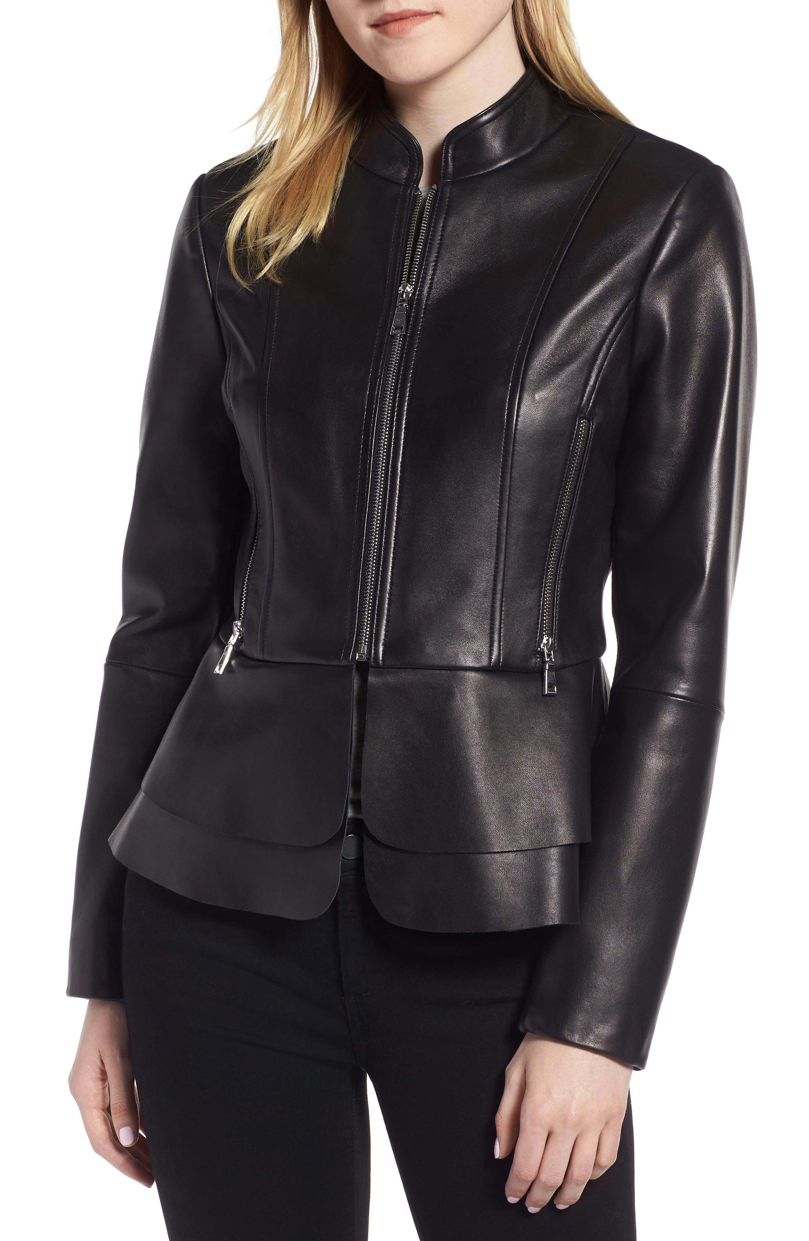 TAHARI Thea Peplum Hem Leather Jacket in Black