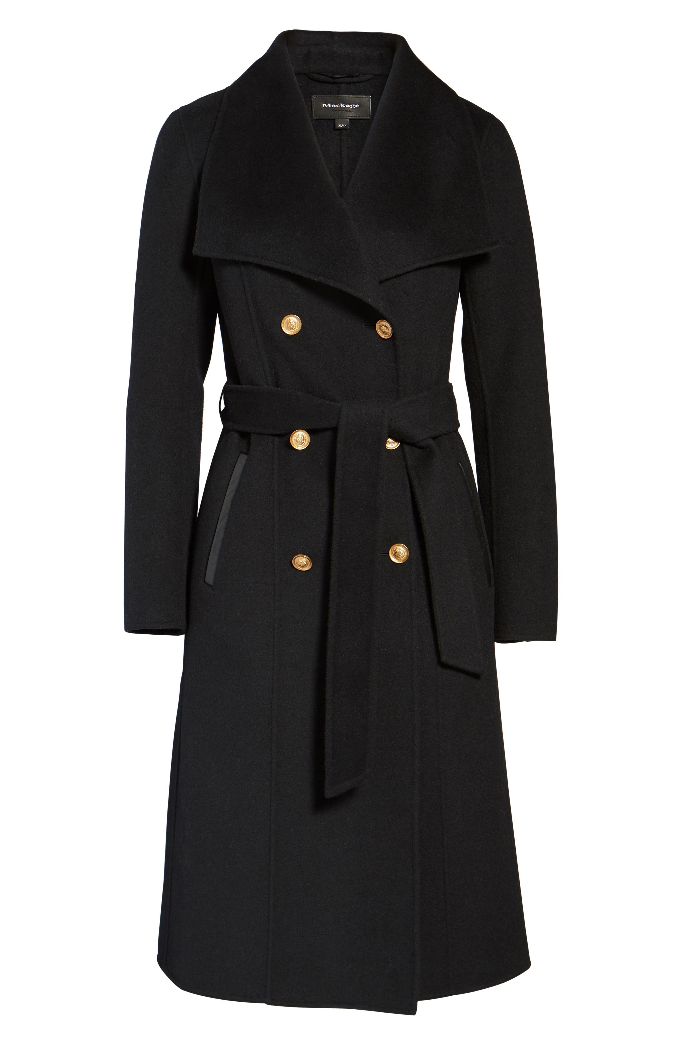 Norah-N Double Breasted Wool Blend Long Military Coat,                             Alternate thumbnail 5, color,                             001