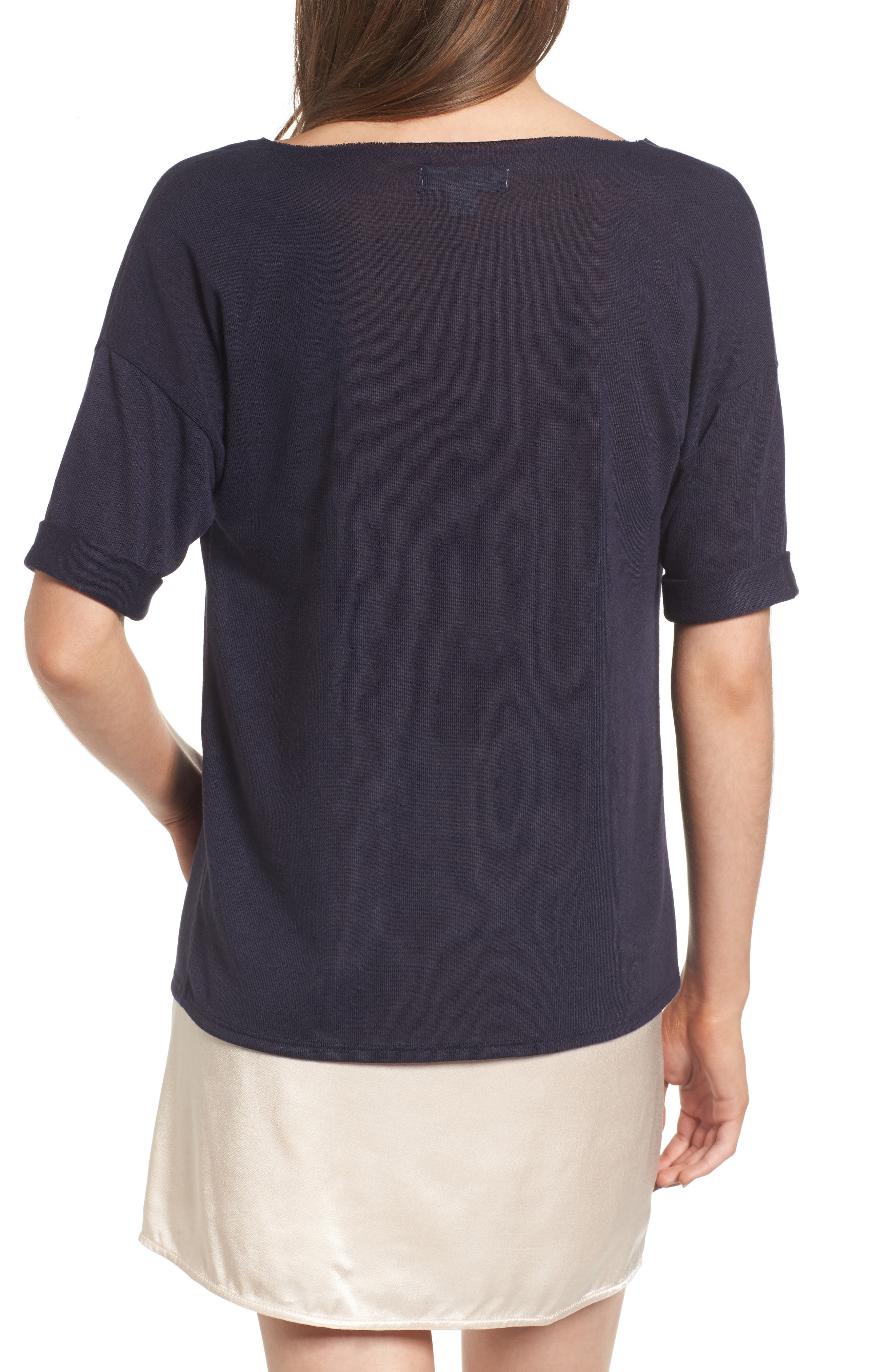 x Something Navy Easy Tee,                             Alternate thumbnail 6, color,