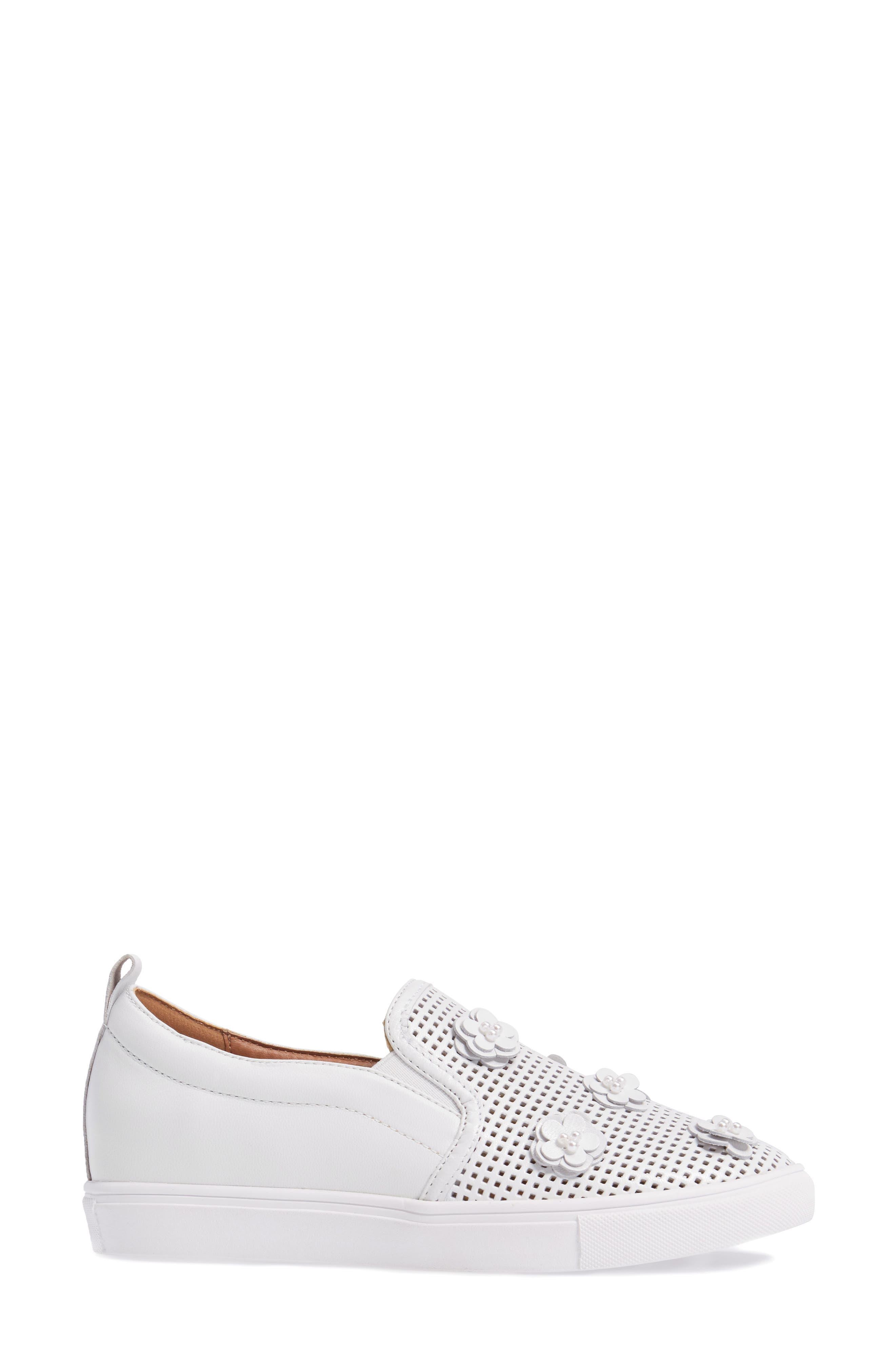 Eden Perforated Slip-On Sneaker,                             Alternate thumbnail 3, color,                             100