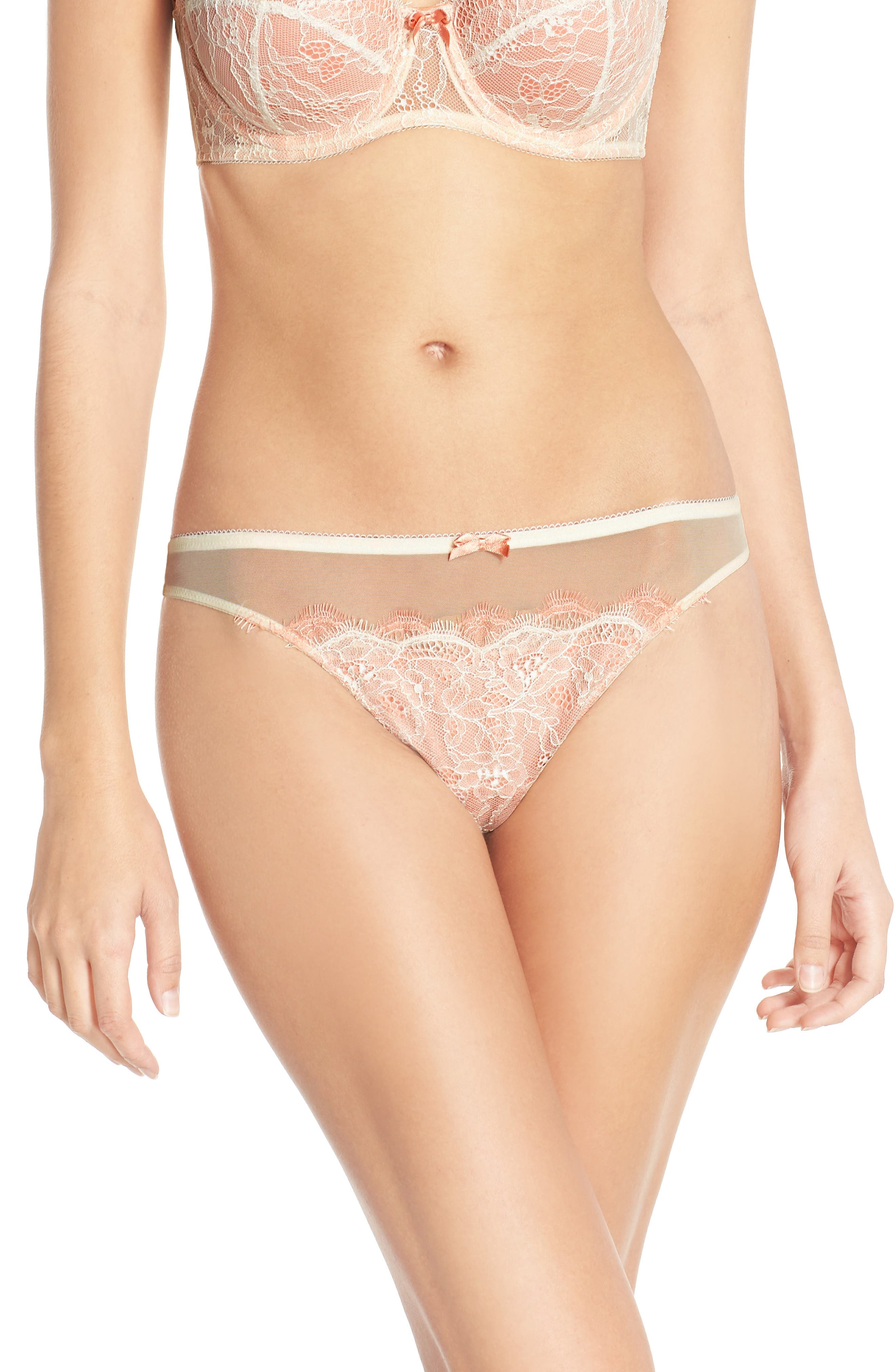 'b.sultry' Lace Front Thong,                             Alternate thumbnail 5, color,                             VANILLA ICE/ PEACH BEIGE