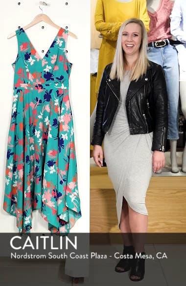 Floral Asymmetric Hem Midi Dress, sales video thumbnail
