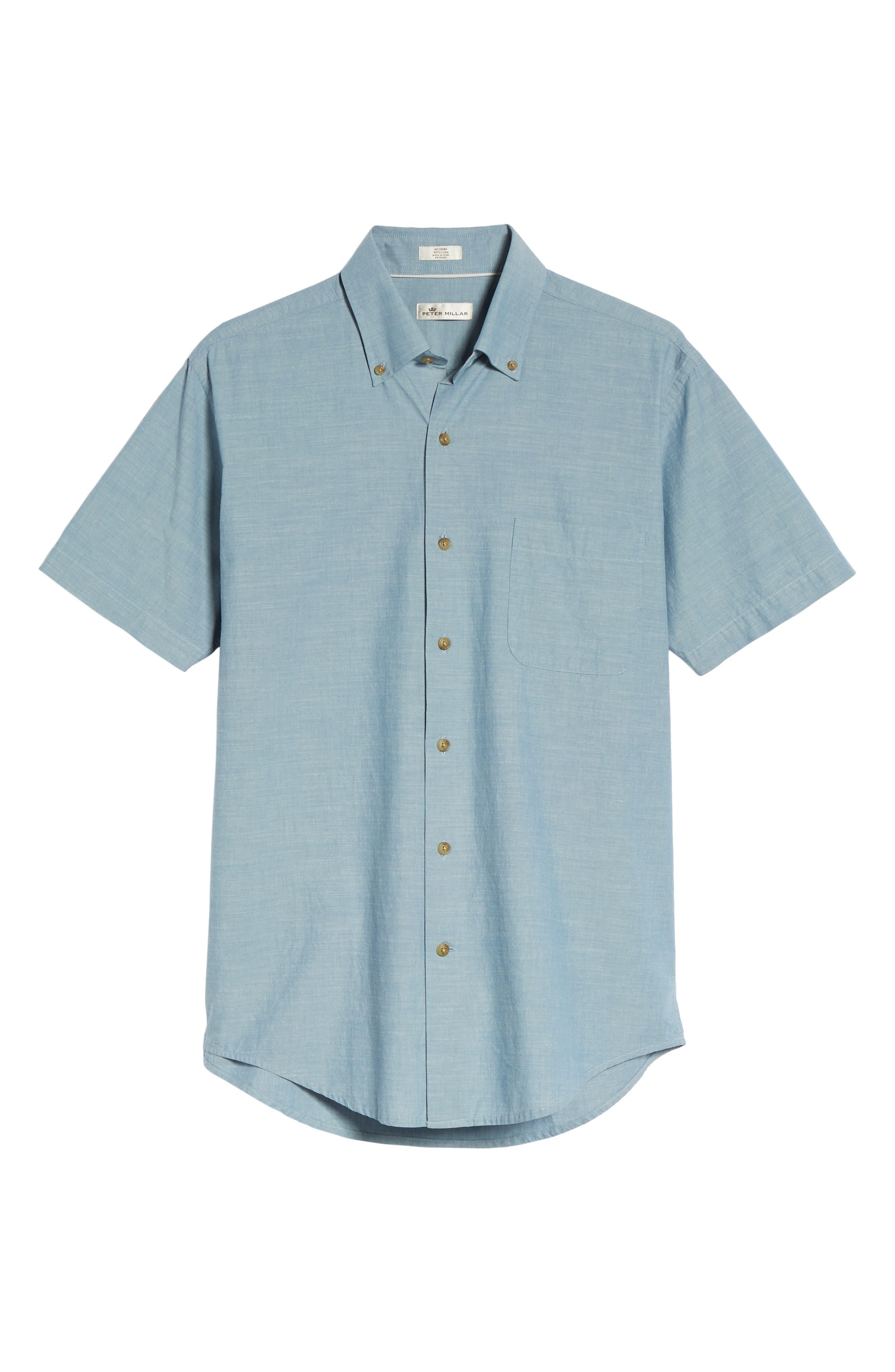 Heritage Chambray Sport Shirt,                             Alternate thumbnail 6, color,                             TAR HEEL BLUE