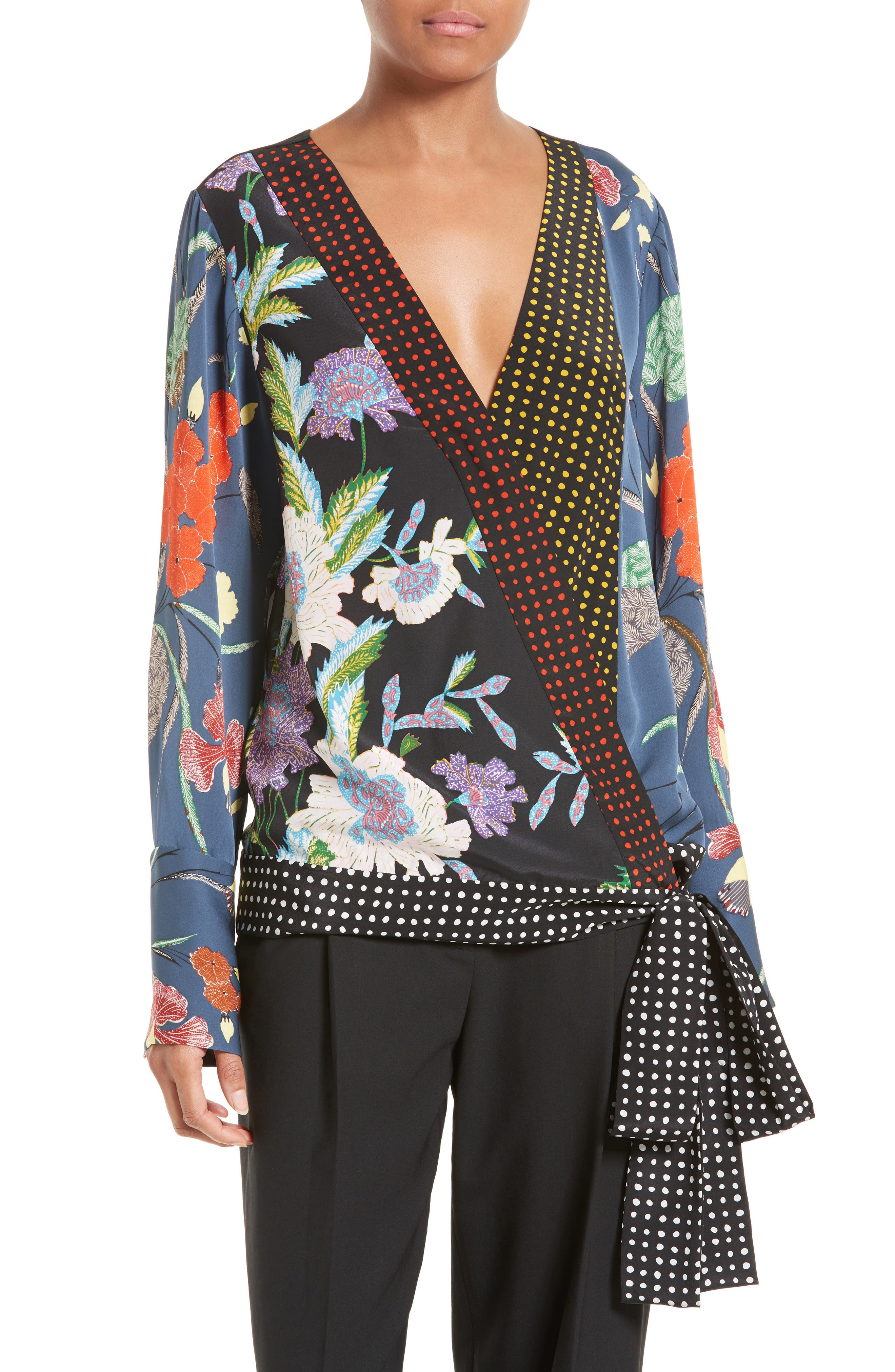 Print Tie Waist Crossover Blouse, Main, color, 499