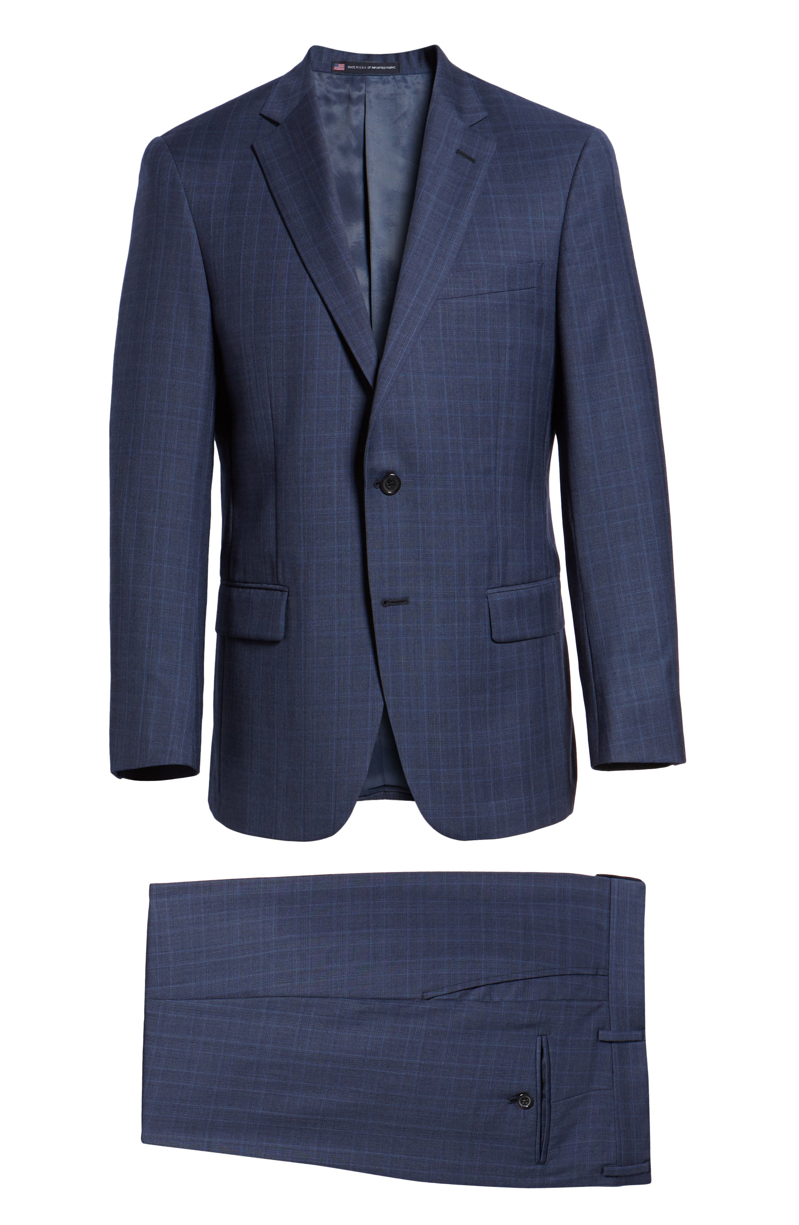 New York Classic Fit Plaid Wool Suit,                             Alternate thumbnail 8, color,                             MED BLUE