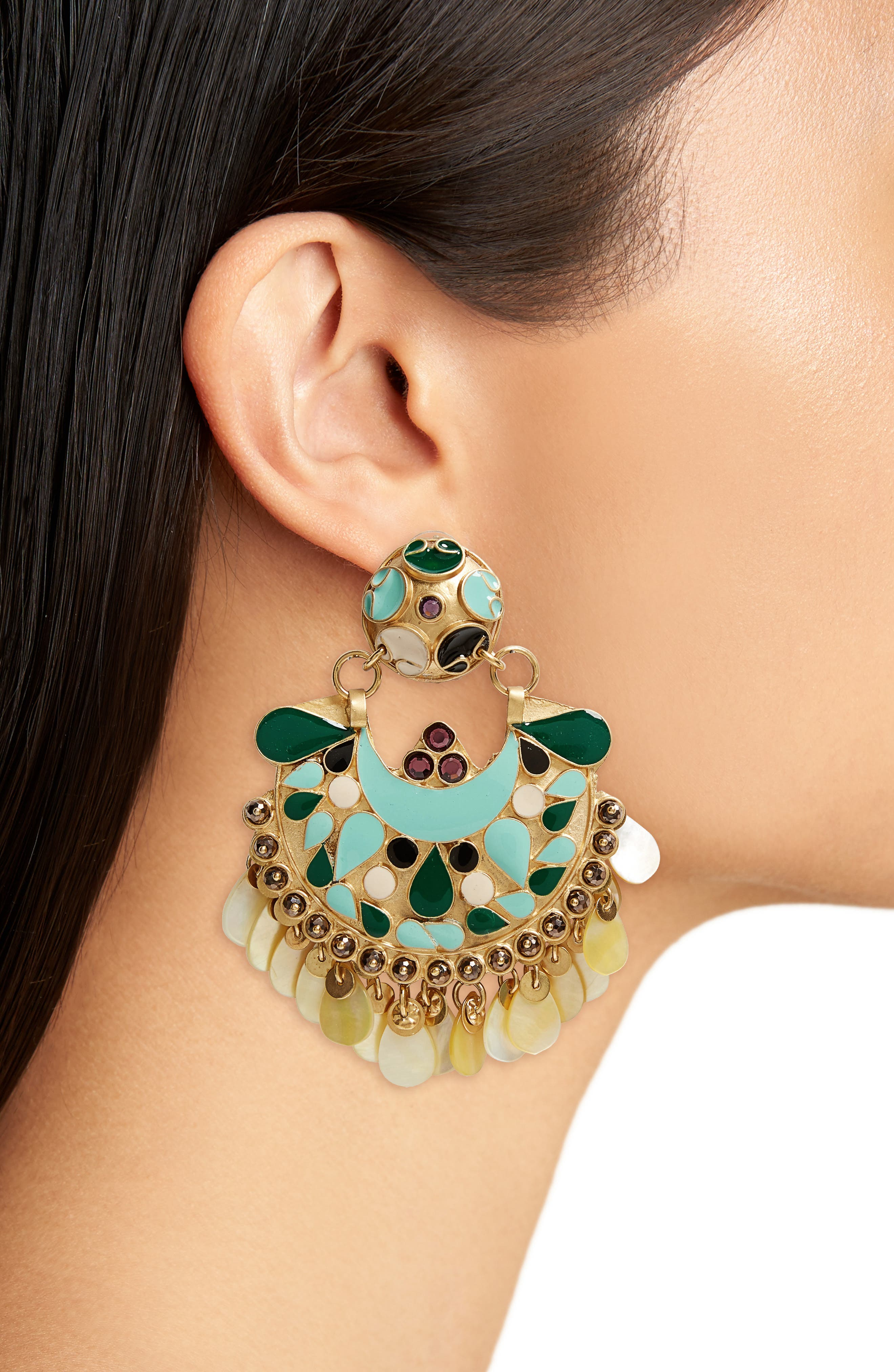 Eventail Statement Clip Earrings,                             Alternate thumbnail 2, color,                             710