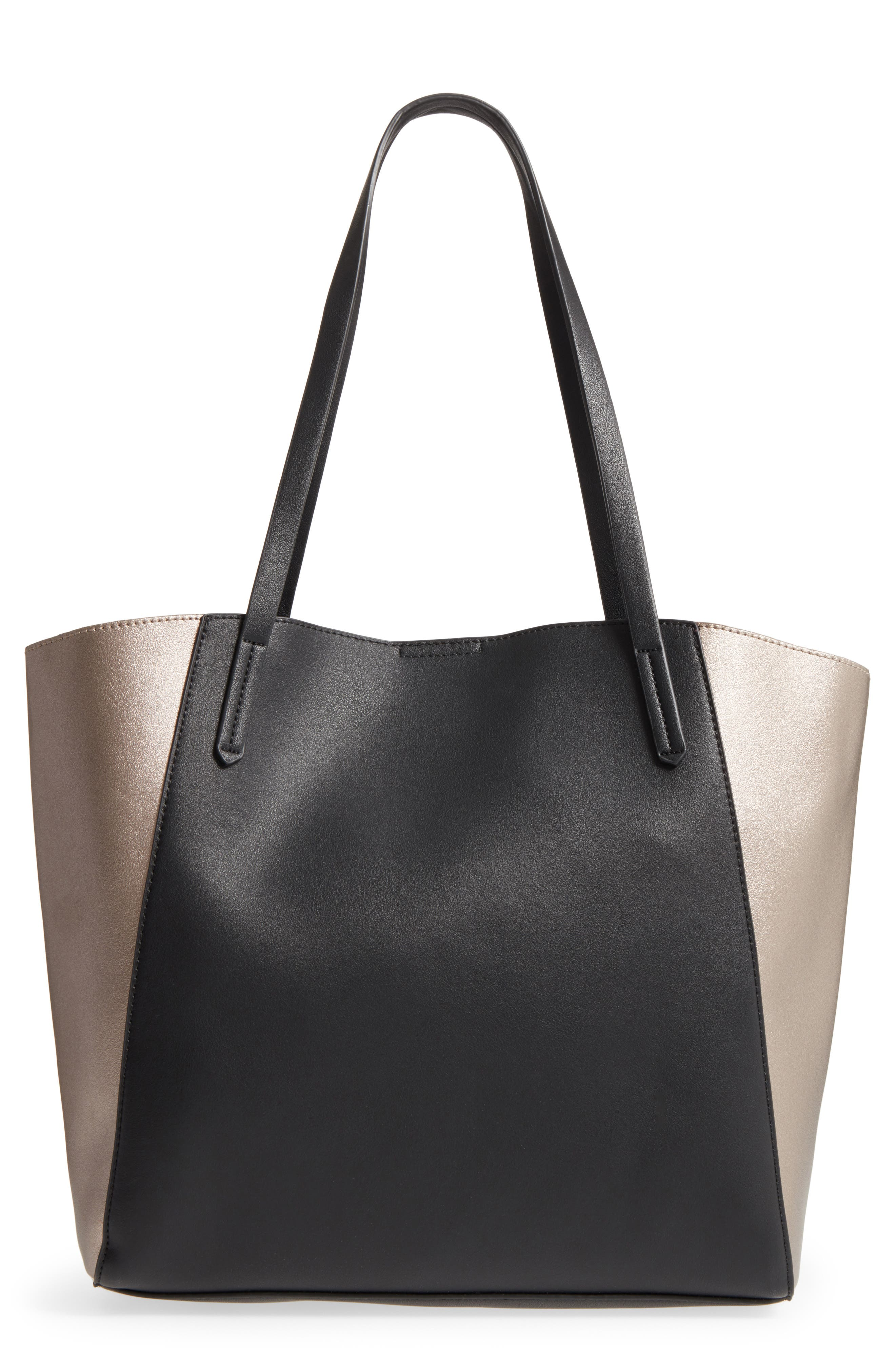 Colorblock Faux Leather Tote,                             Main thumbnail 1, color,