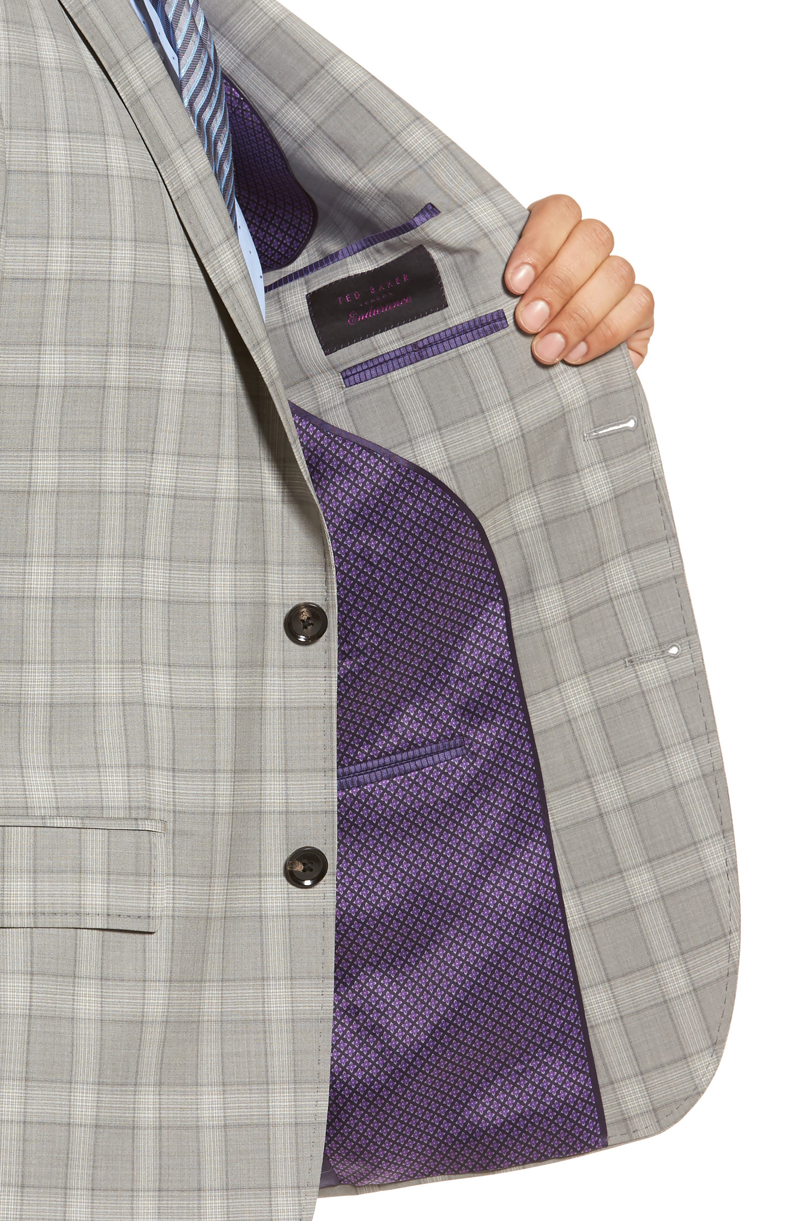 Jay Trim Fit Plaid Wool Suit,                             Alternate thumbnail 4, color,                             050