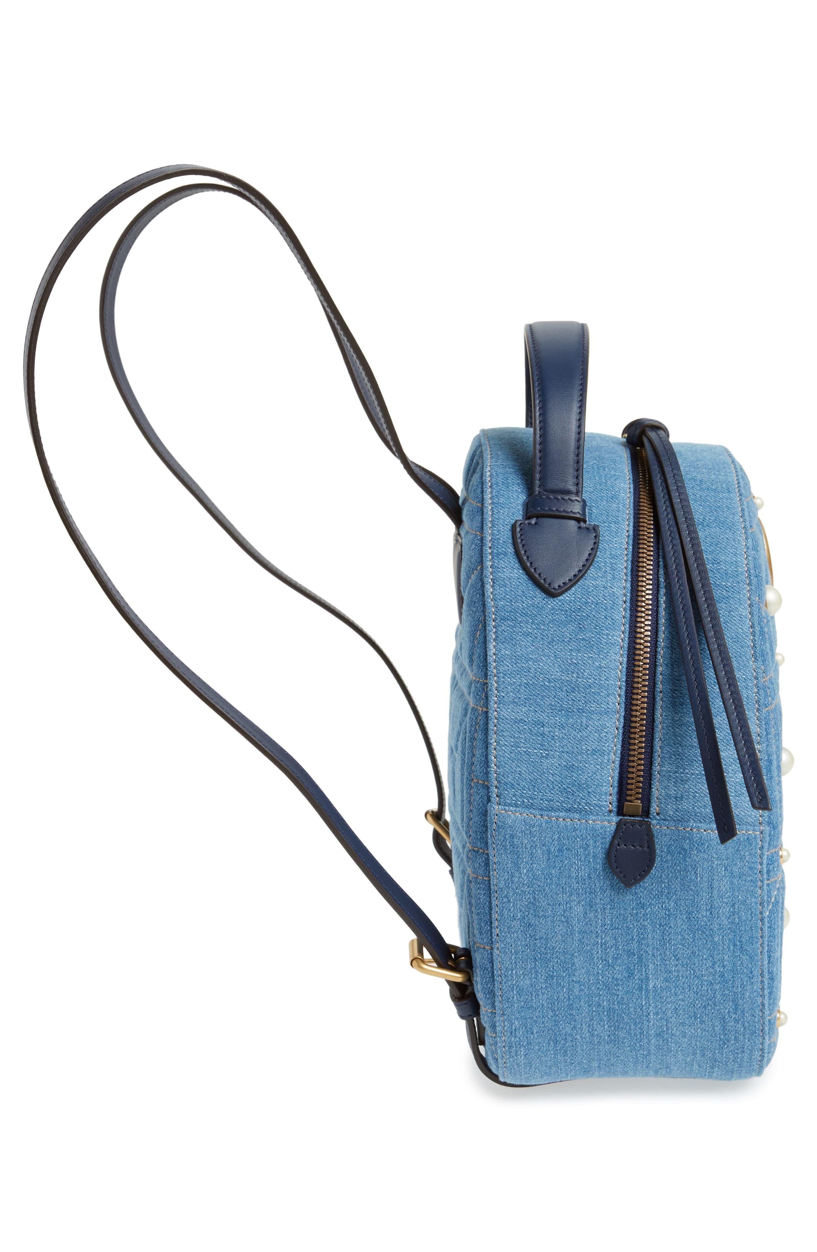 GG Marmont 2.0 Imitation Pearl Embellished Denim Backpack,                             Alternate thumbnail 5, color,                             DENIM BLUE