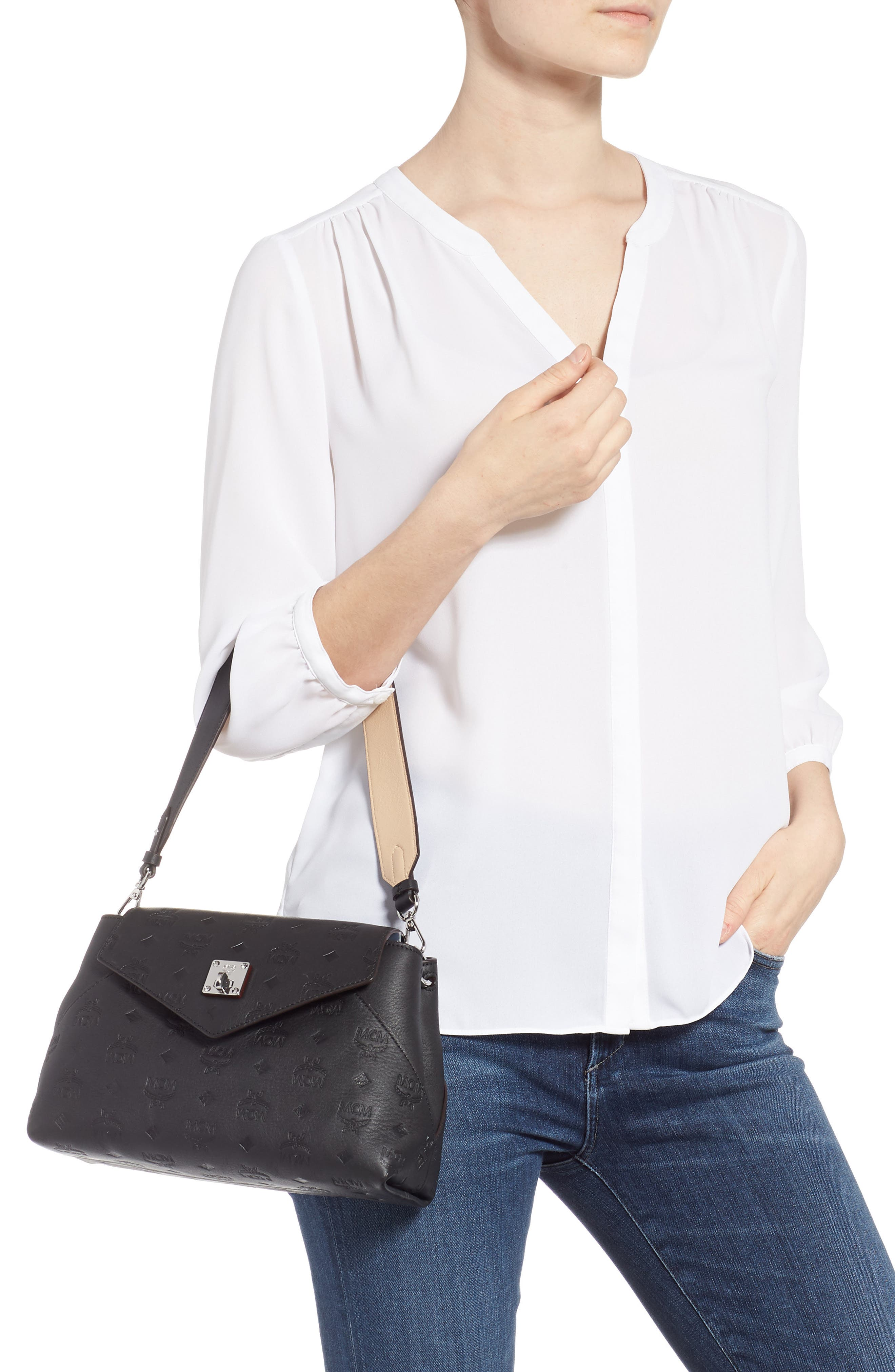 MCM,                             Essentials Monogram Leather Small Crossbody Bag,                             Alternate thumbnail 2, color,                             BLACK