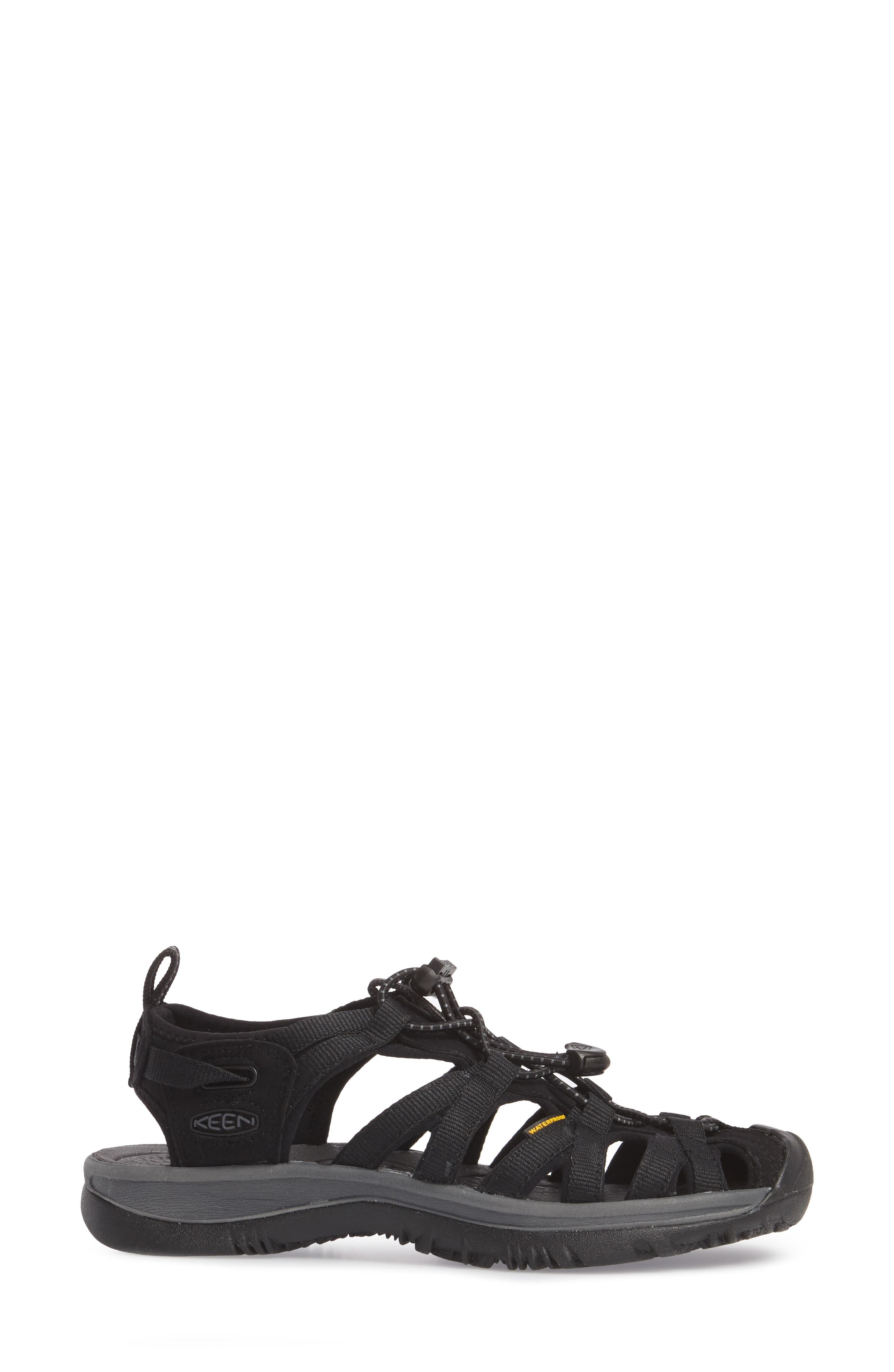 'Whisper' Water Friendly Sport Sandal,                             Alternate thumbnail 3, color,                             BLACK/ MAGNET