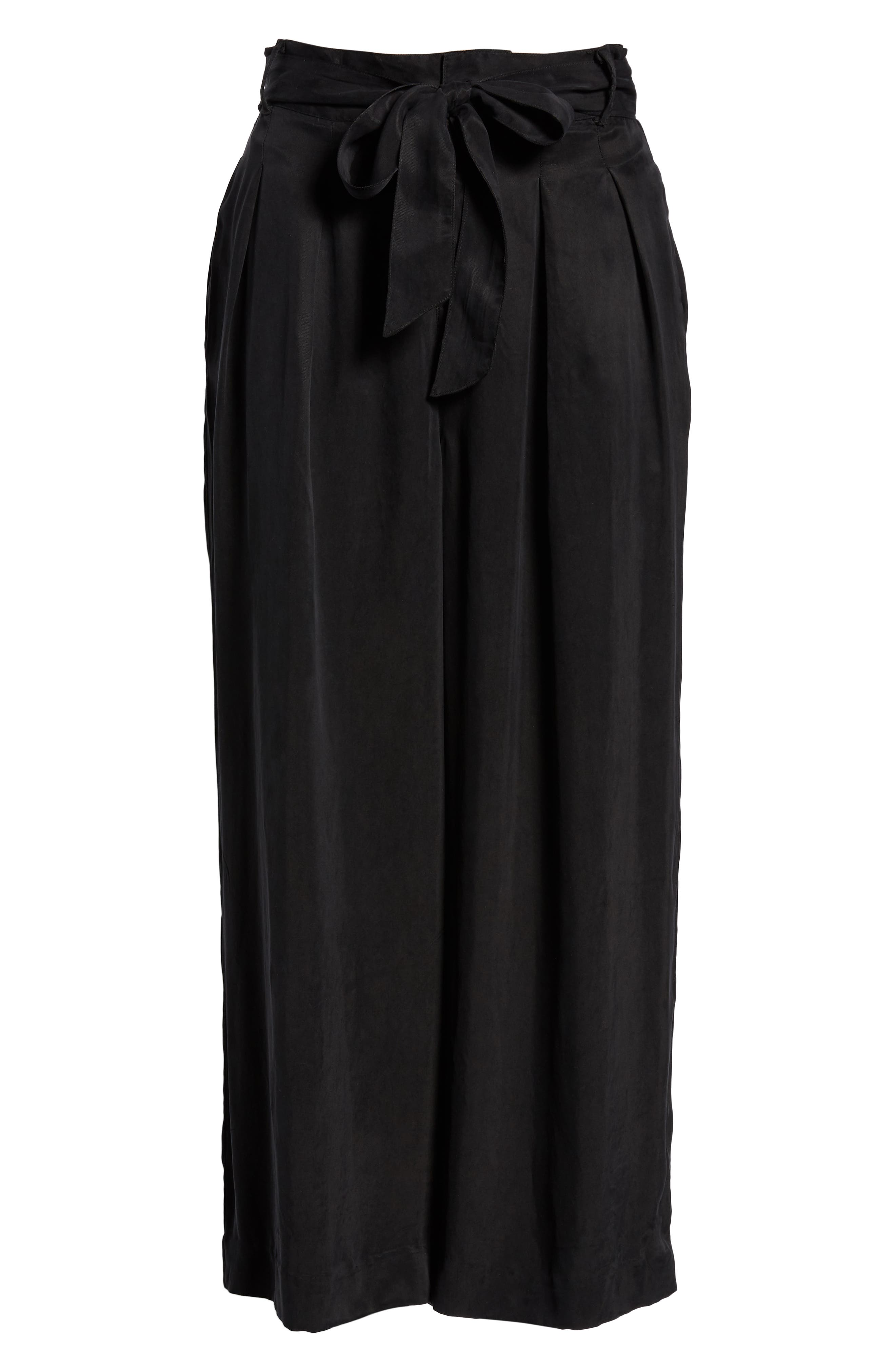 Jenna Cupro Wide Leg Pants,                             Alternate thumbnail 7, color,                             BLACK