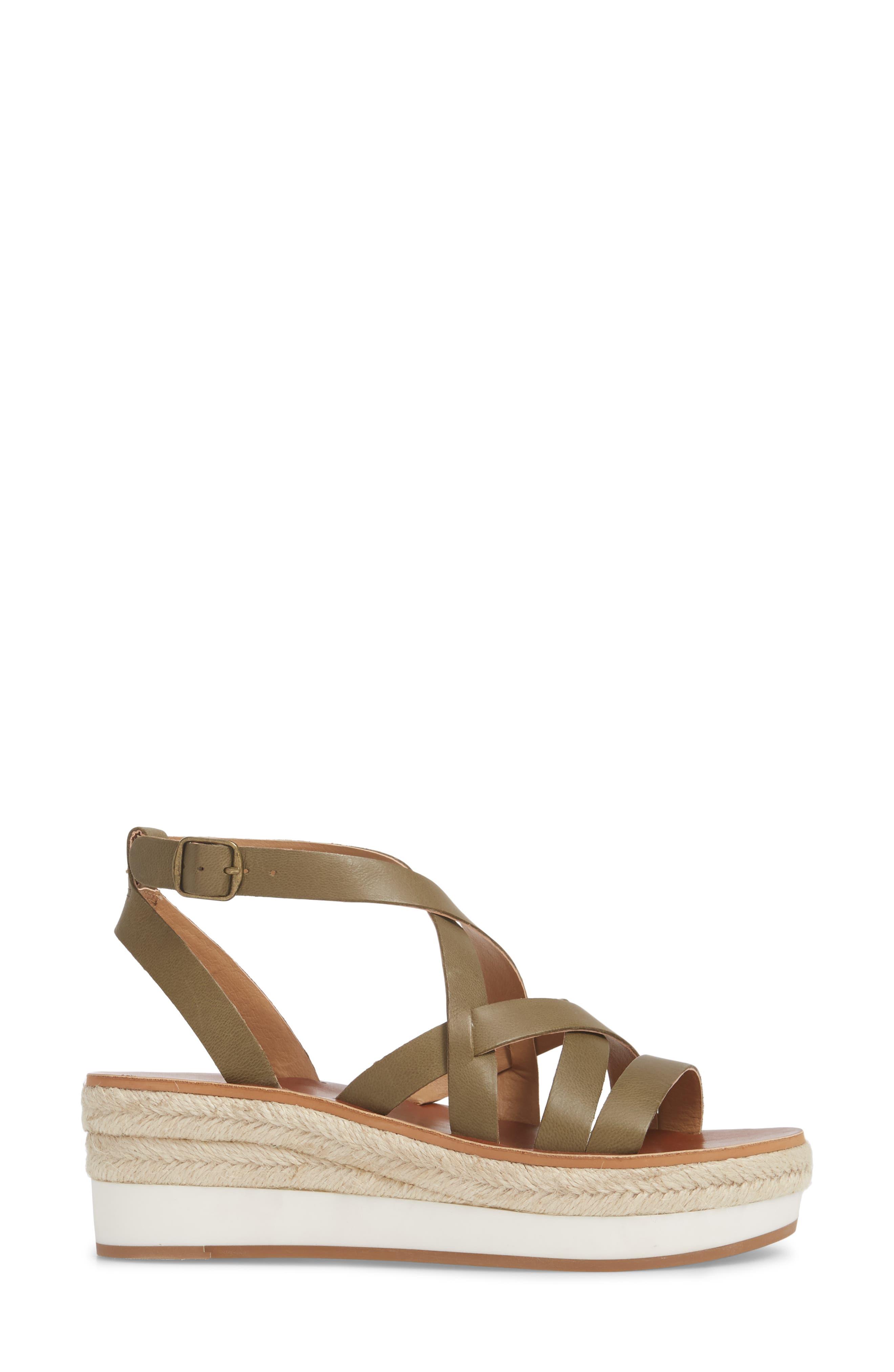 LUCKY BRAND,                             Jenepper Platform Wedge Sandal,                             Alternate thumbnail 3, color,                             DRAB LEATHER