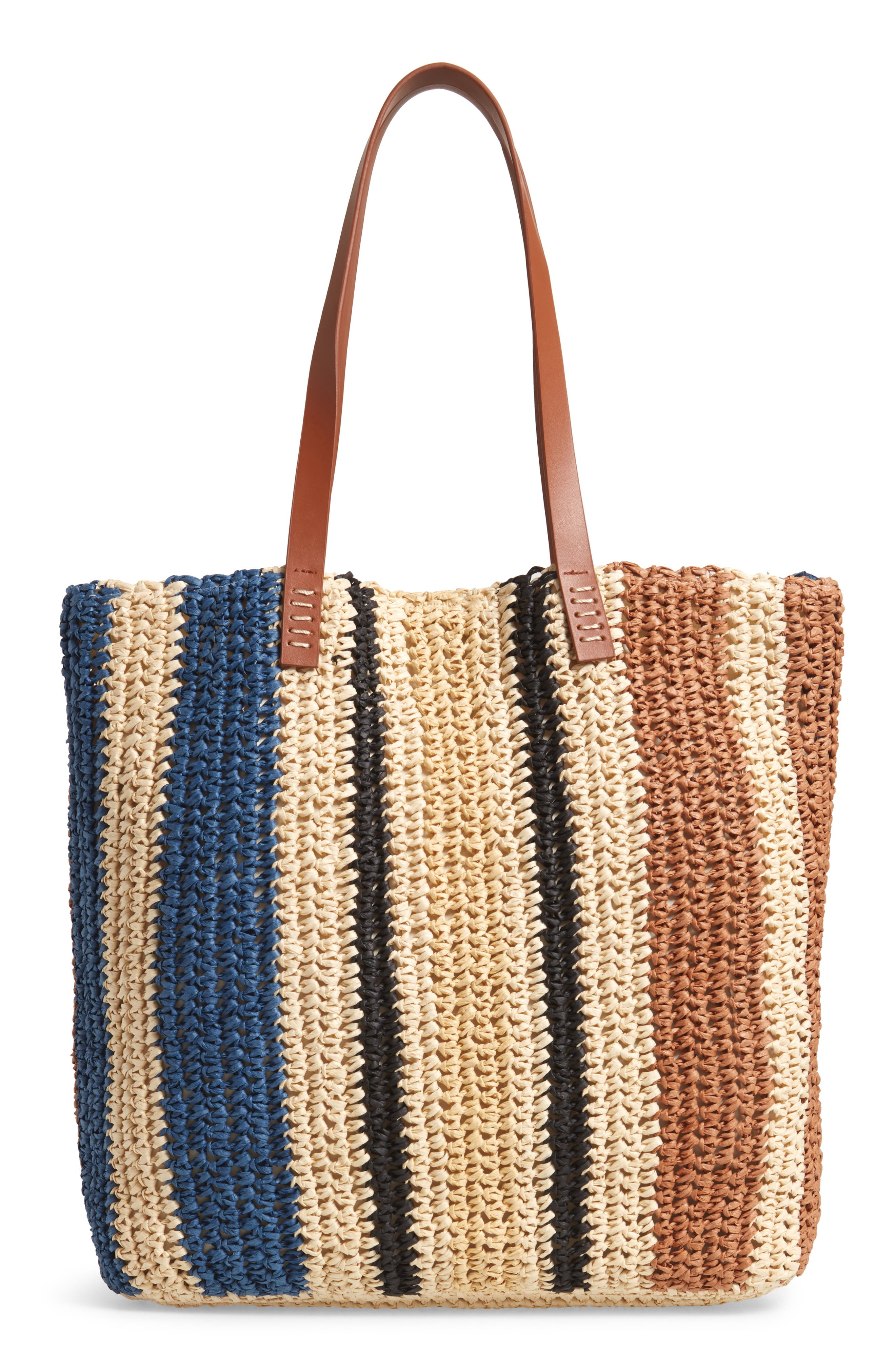 Stripe North/South Raffia Tote,                             Alternate thumbnail 3, color,                             MULTI