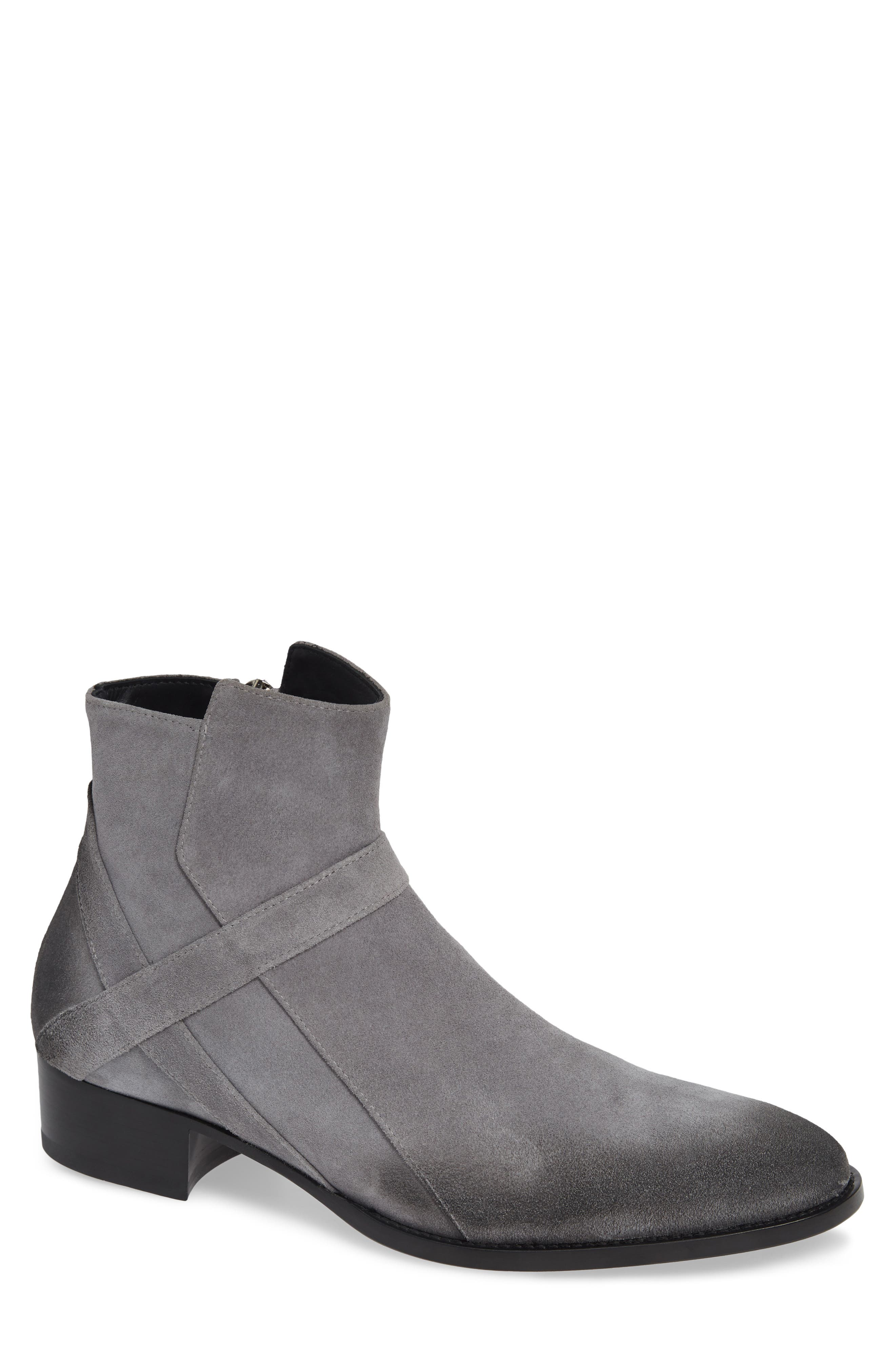 GRAND VOYAGE Bowie Zip Boot in Grey Suede/ Black