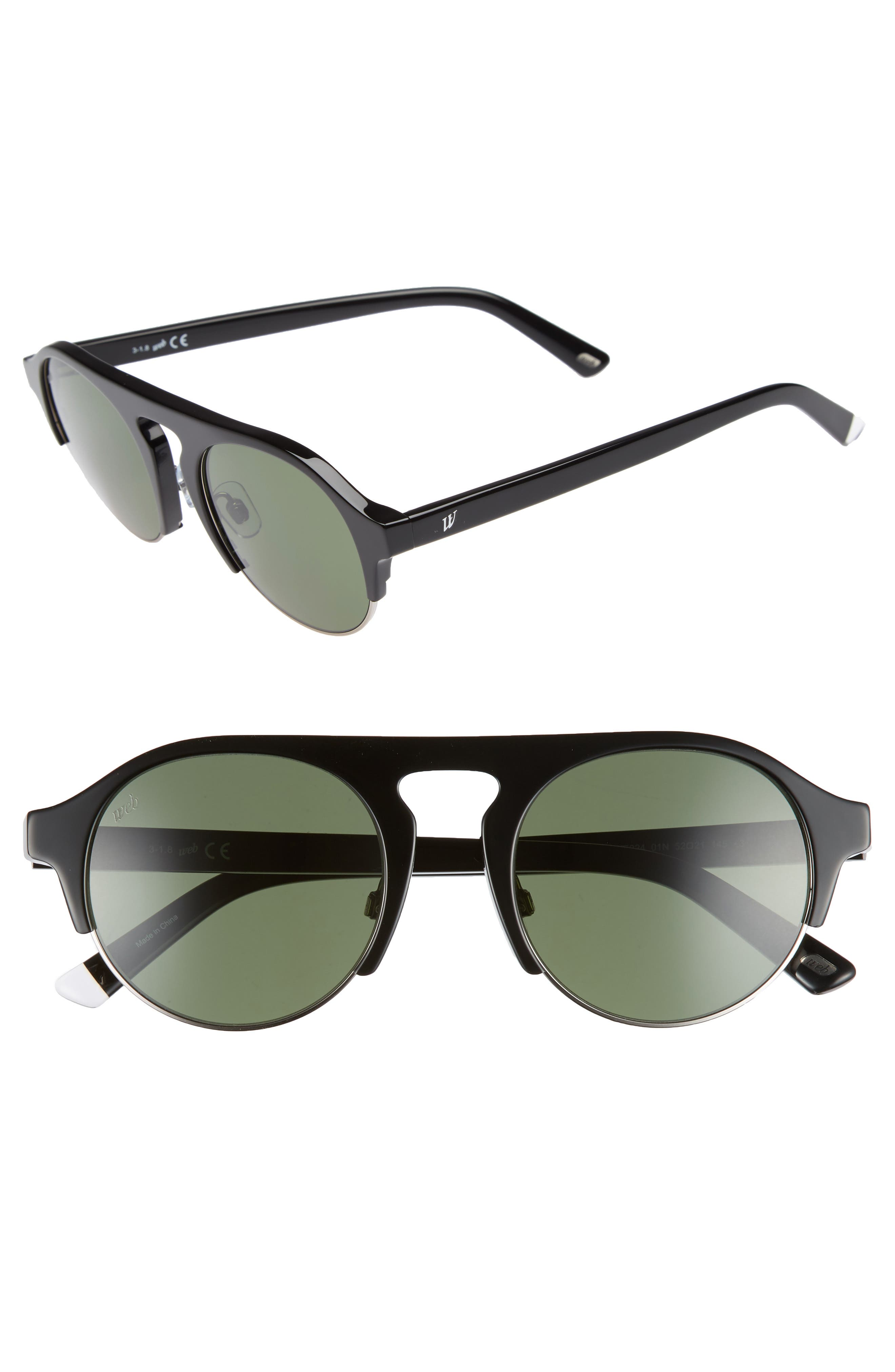52mm Sunglasses,                             Main thumbnail 1, color,                             SHINY BLACK/ GREEN