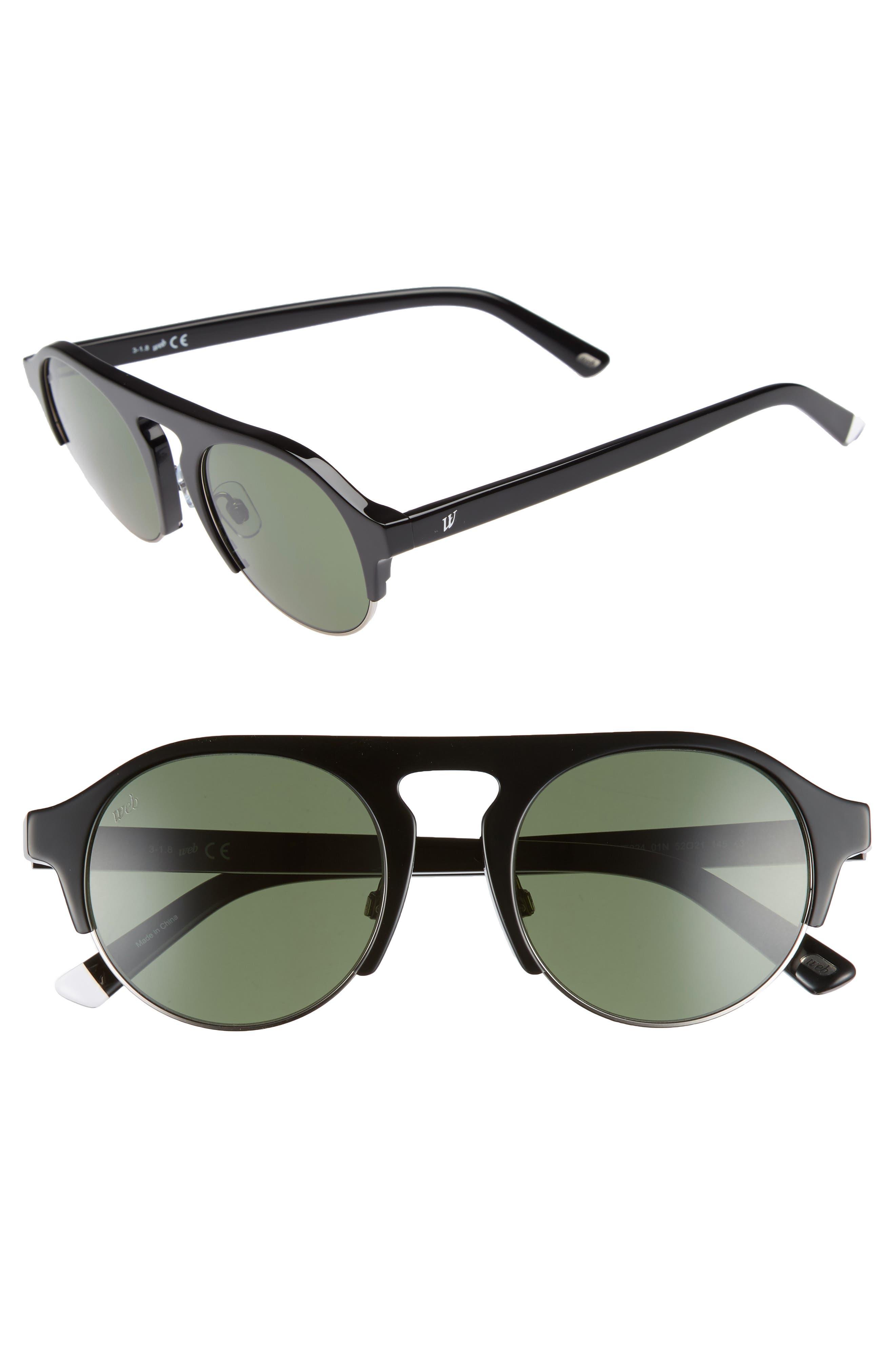 52mm Sunglasses,                         Main,                         color, SHINY BLACK/ GREEN