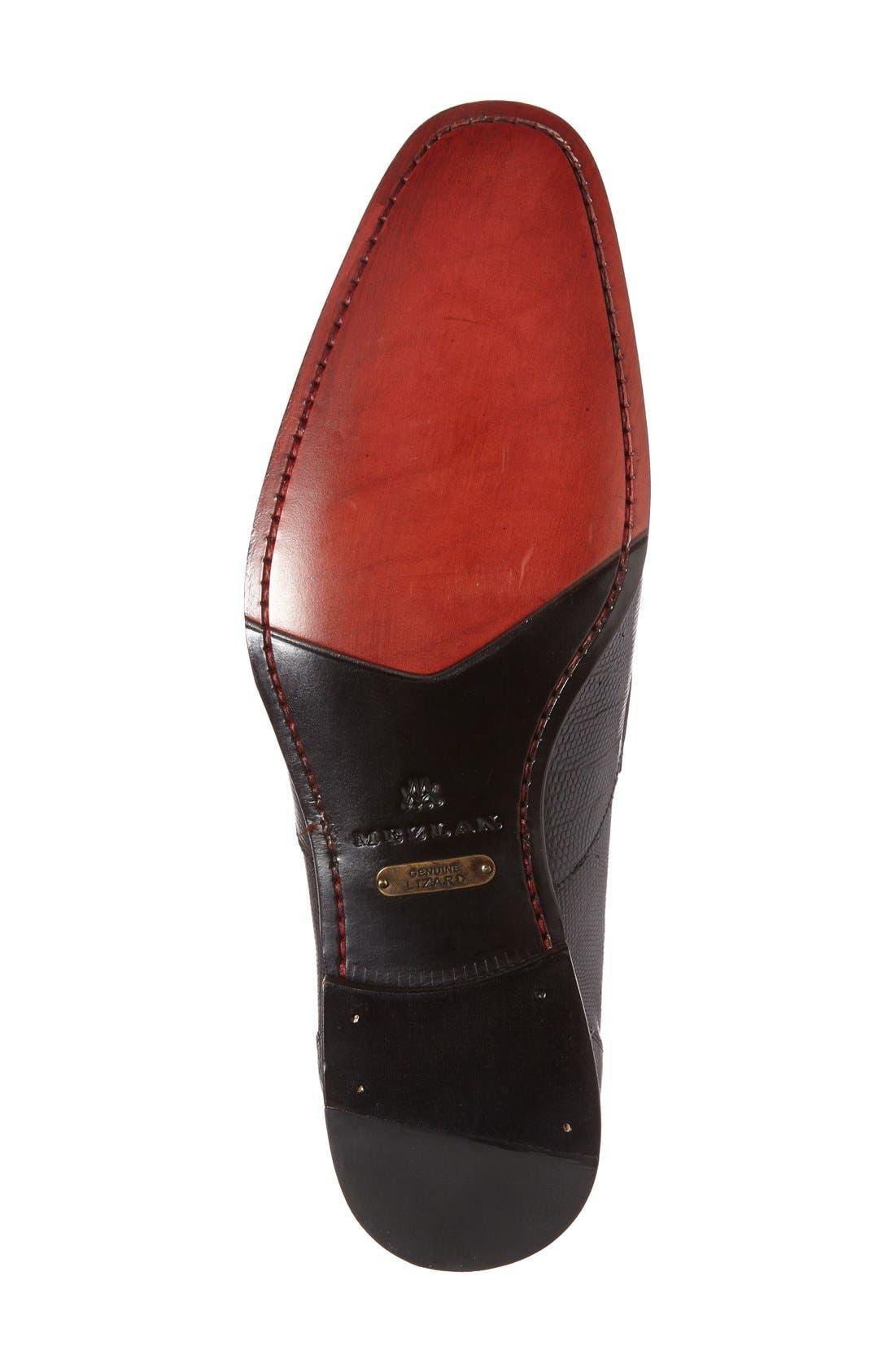 'Lipari' Lizard Leather Penny Loafer,                             Alternate thumbnail 4, color,                             BLACK