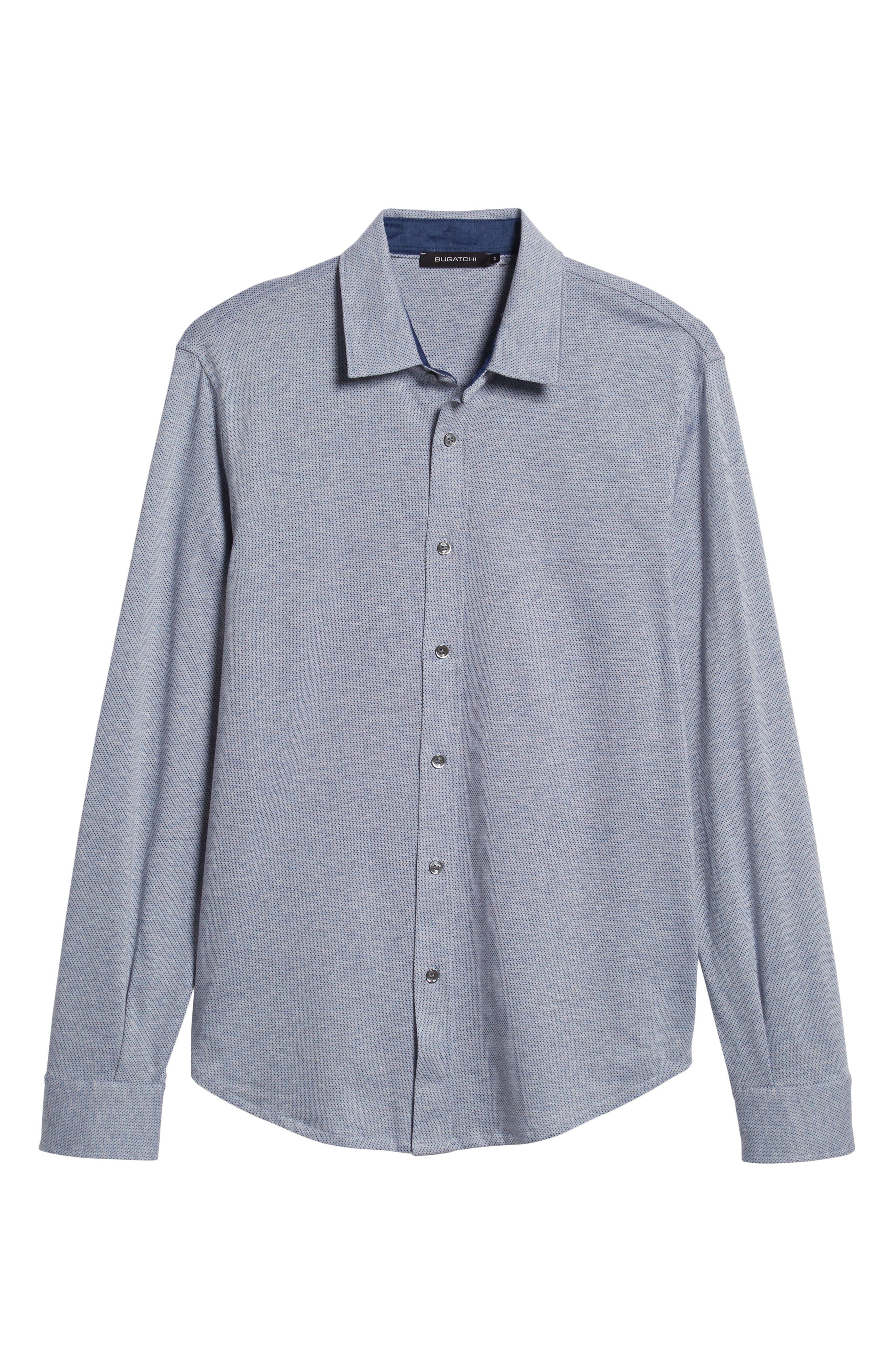 Regular Fit Microdot Knit Sport Shirt,                             Alternate thumbnail 5, color,                             AIR BLUE