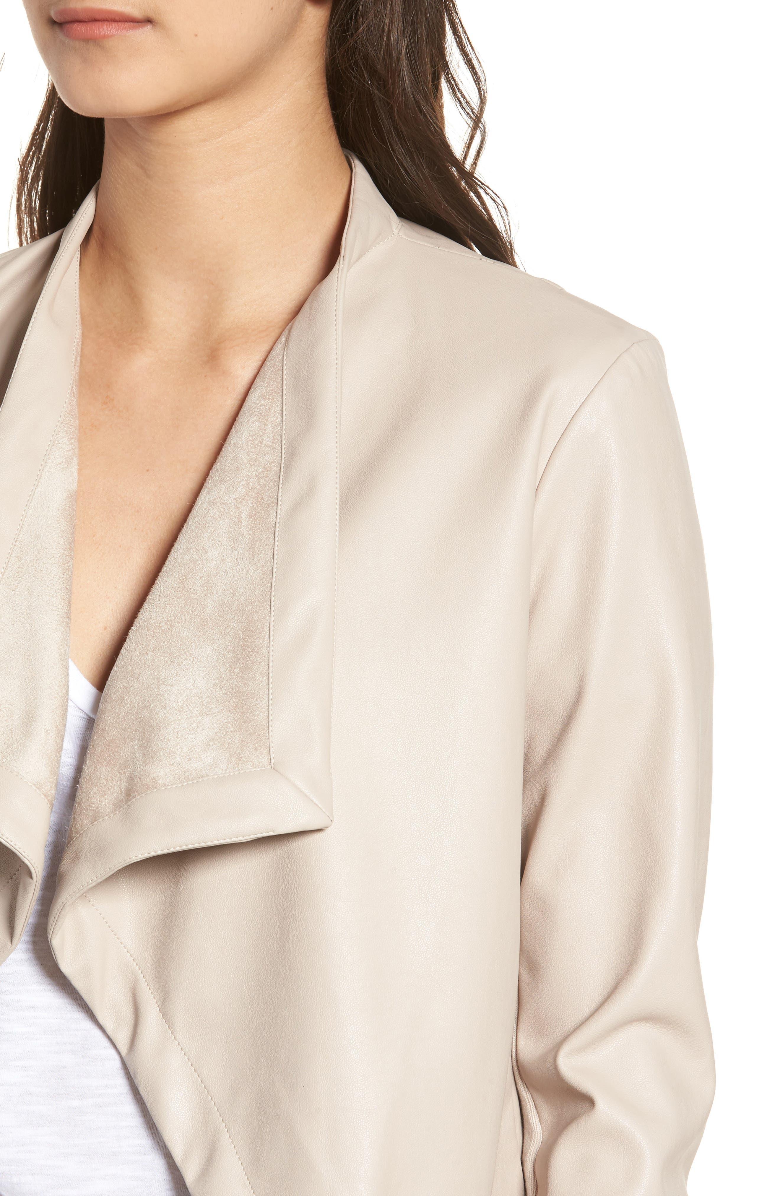 'Peppin' Drape Front Faux Leather Jacket,                             Alternate thumbnail 32, color,