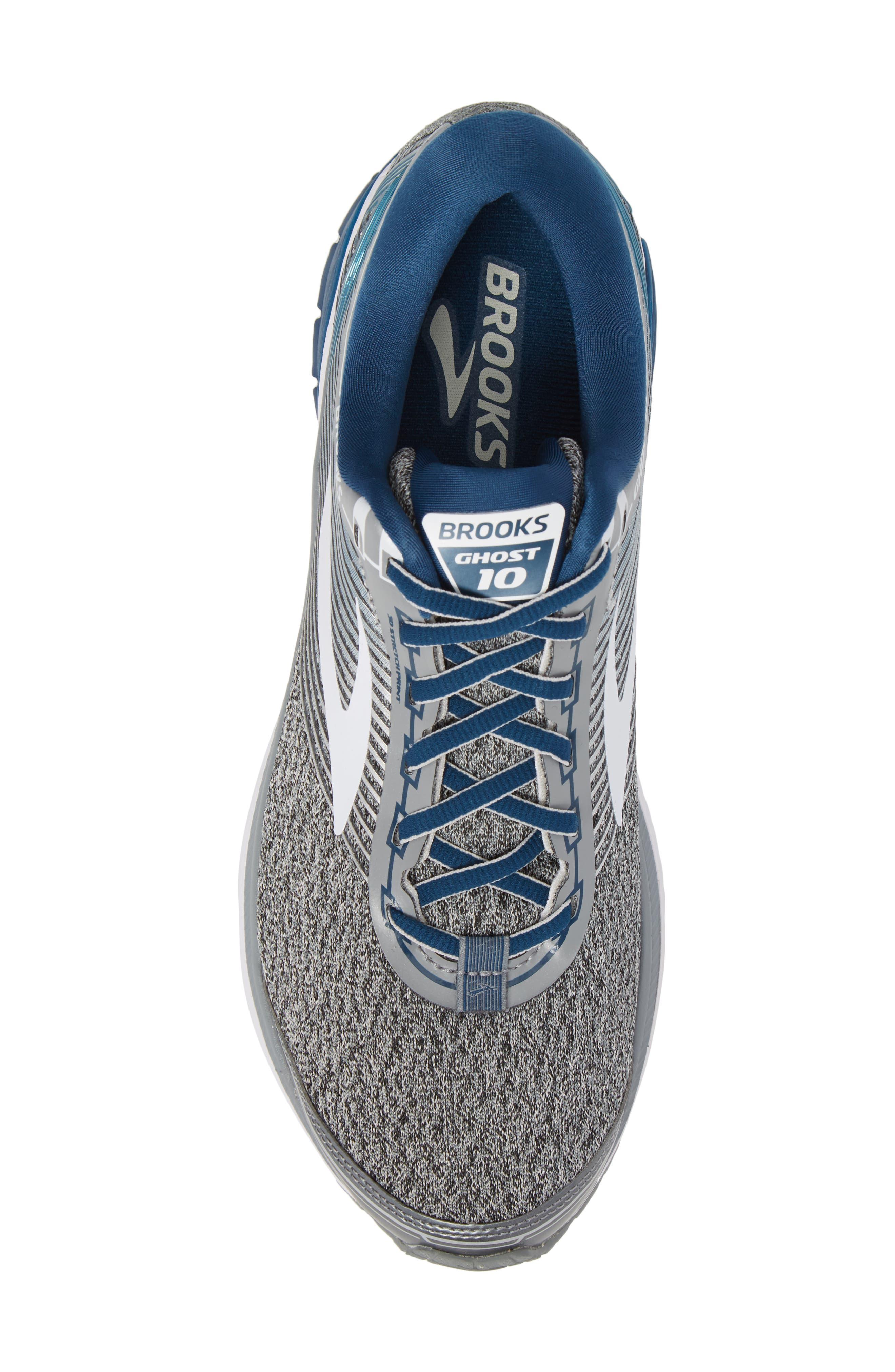 Ghost 10 Running Shoe,                             Alternate thumbnail 5, color,                             SILVER/ BLUE/ WHITE