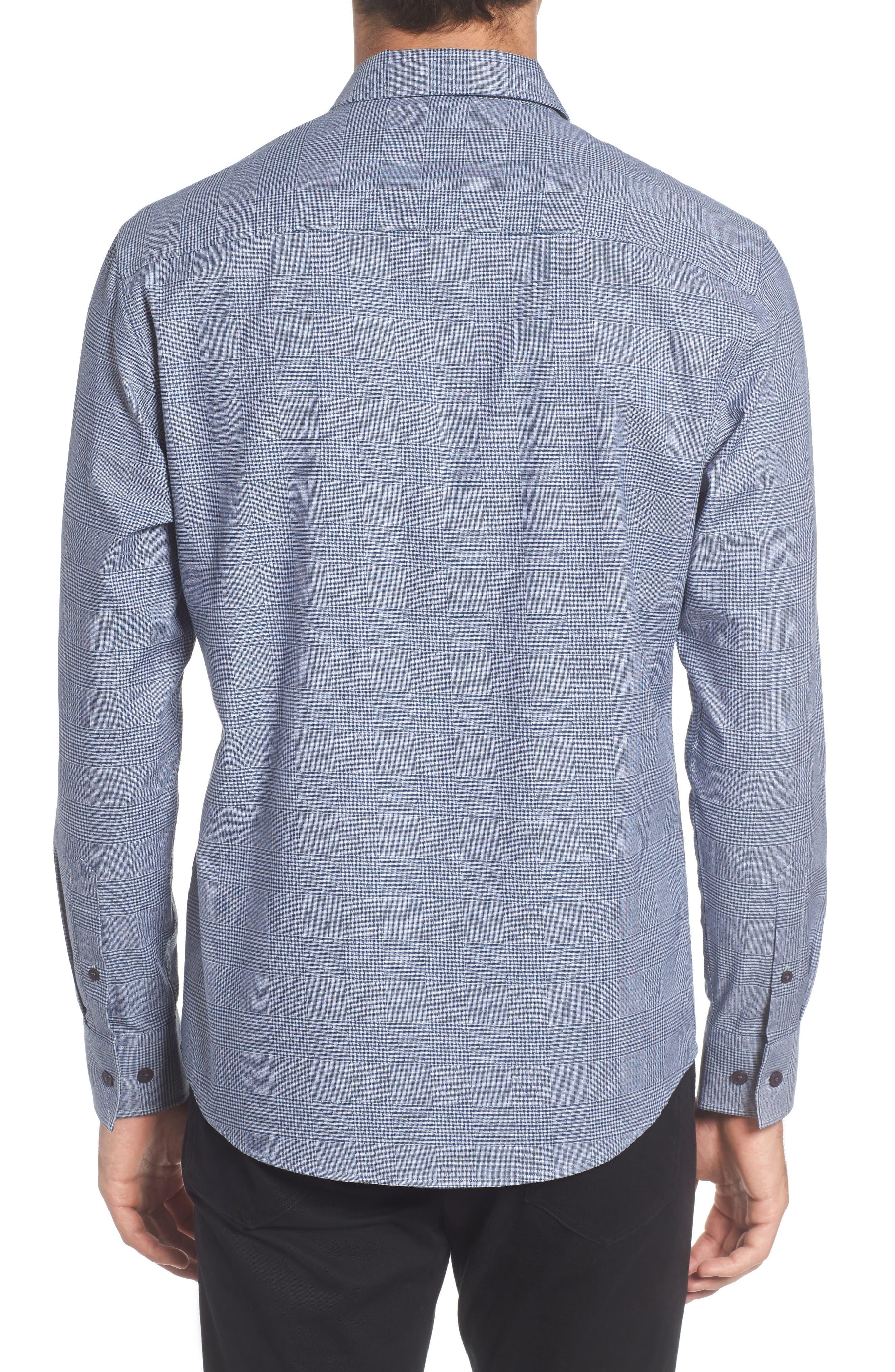Hacking Slim Fit Glen Plaid Sport Shirt,                             Alternate thumbnail 2, color,                             420