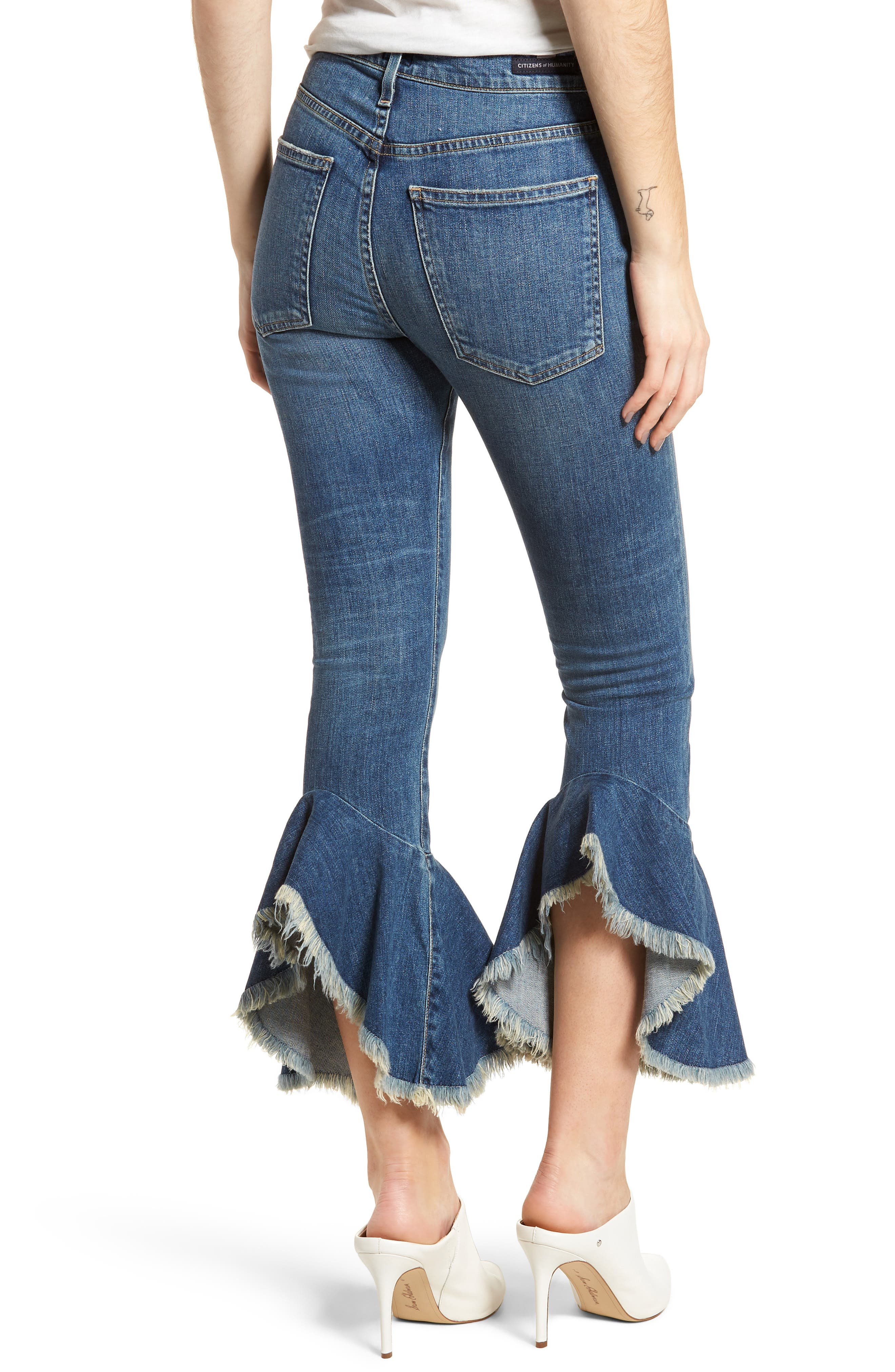 Drew Flounce Hem Crop Jeans,                             Alternate thumbnail 2, color,                             422