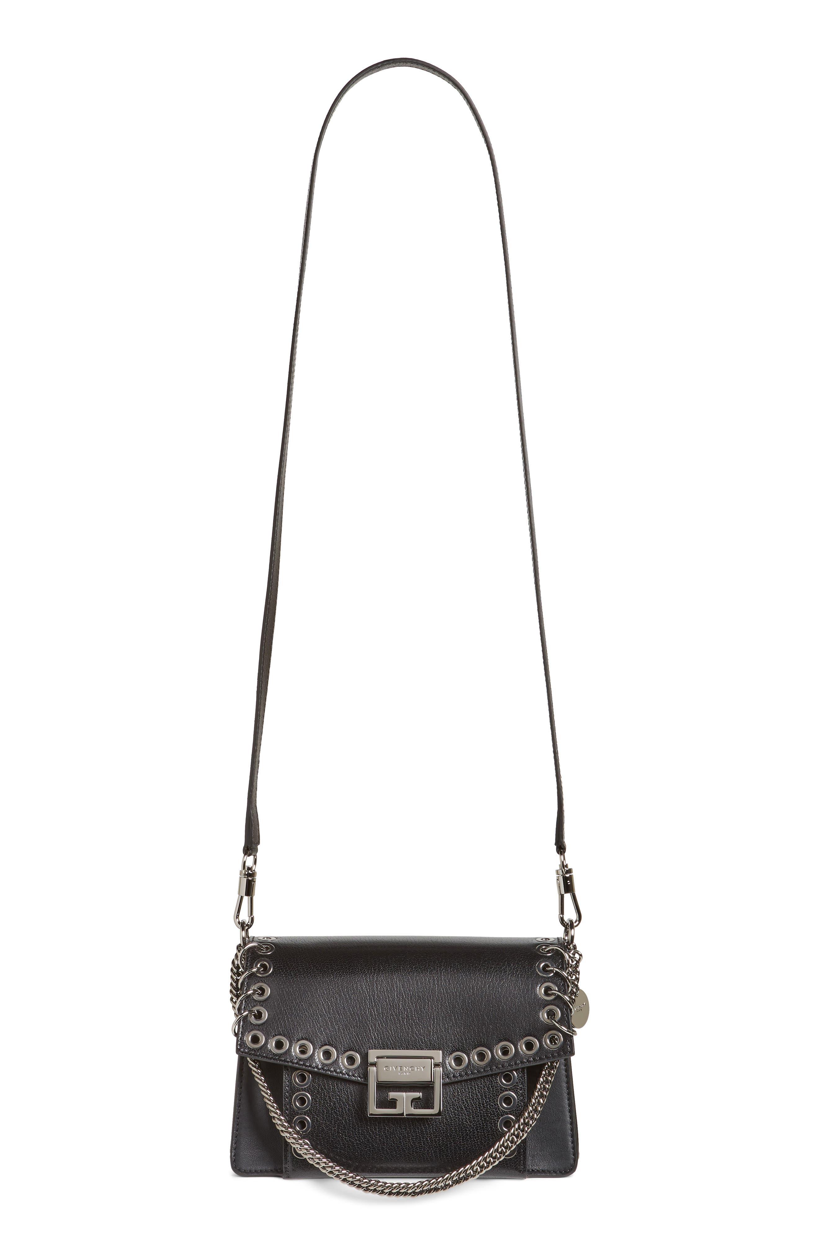 GIVENCHY,                             GV3 Eyelet and Rings Leather Shoulder Bag,                             Main thumbnail 1, color,                             BLACK