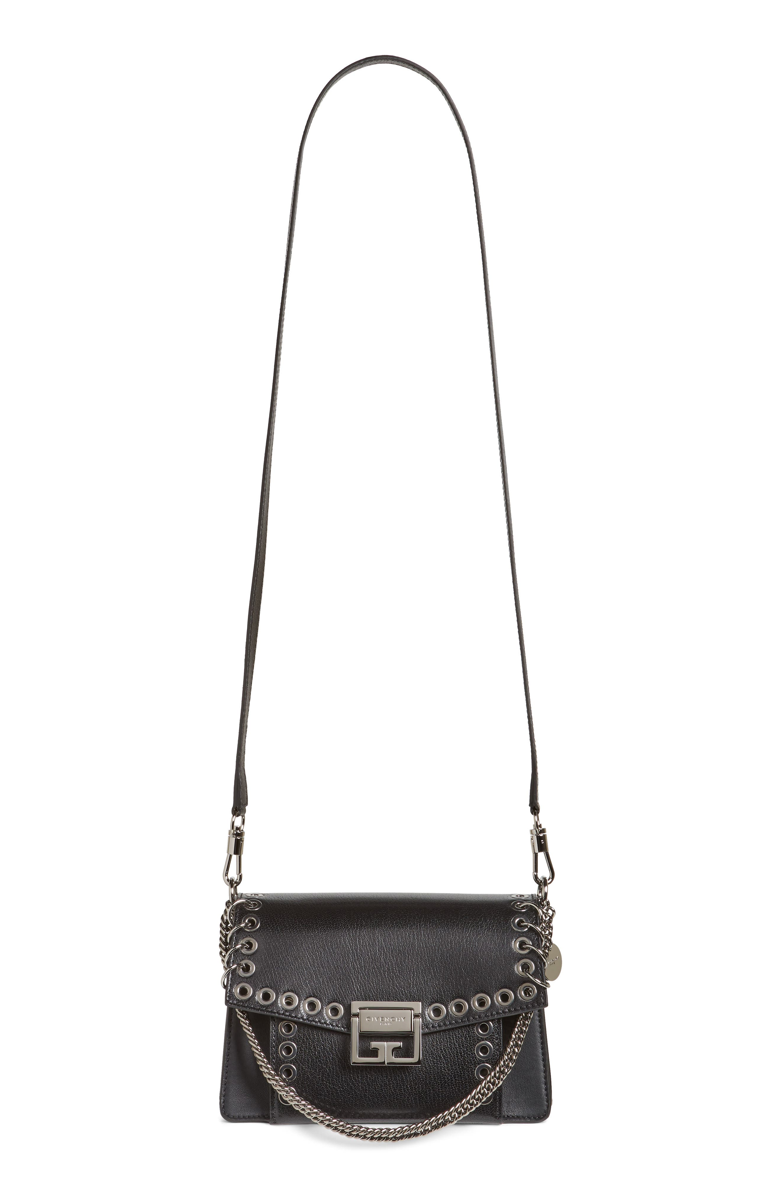 GIVENCHY GV3 Eyelet and Rings Leather Shoulder Bag, Main, color, BLACK