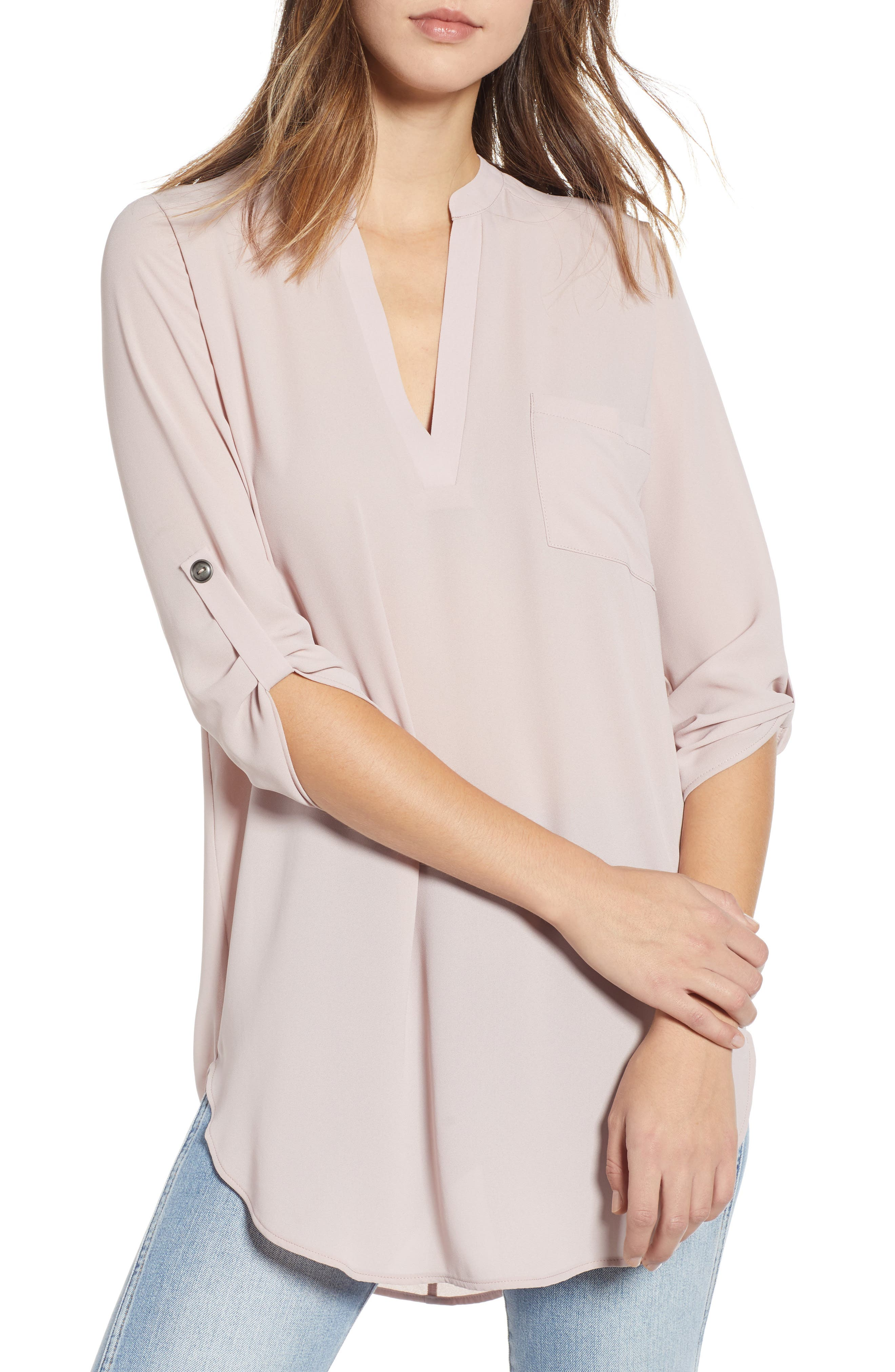 --- Perfect Roll Tab Sleeve Tunic, Main, color, SHADOW BLUSH
