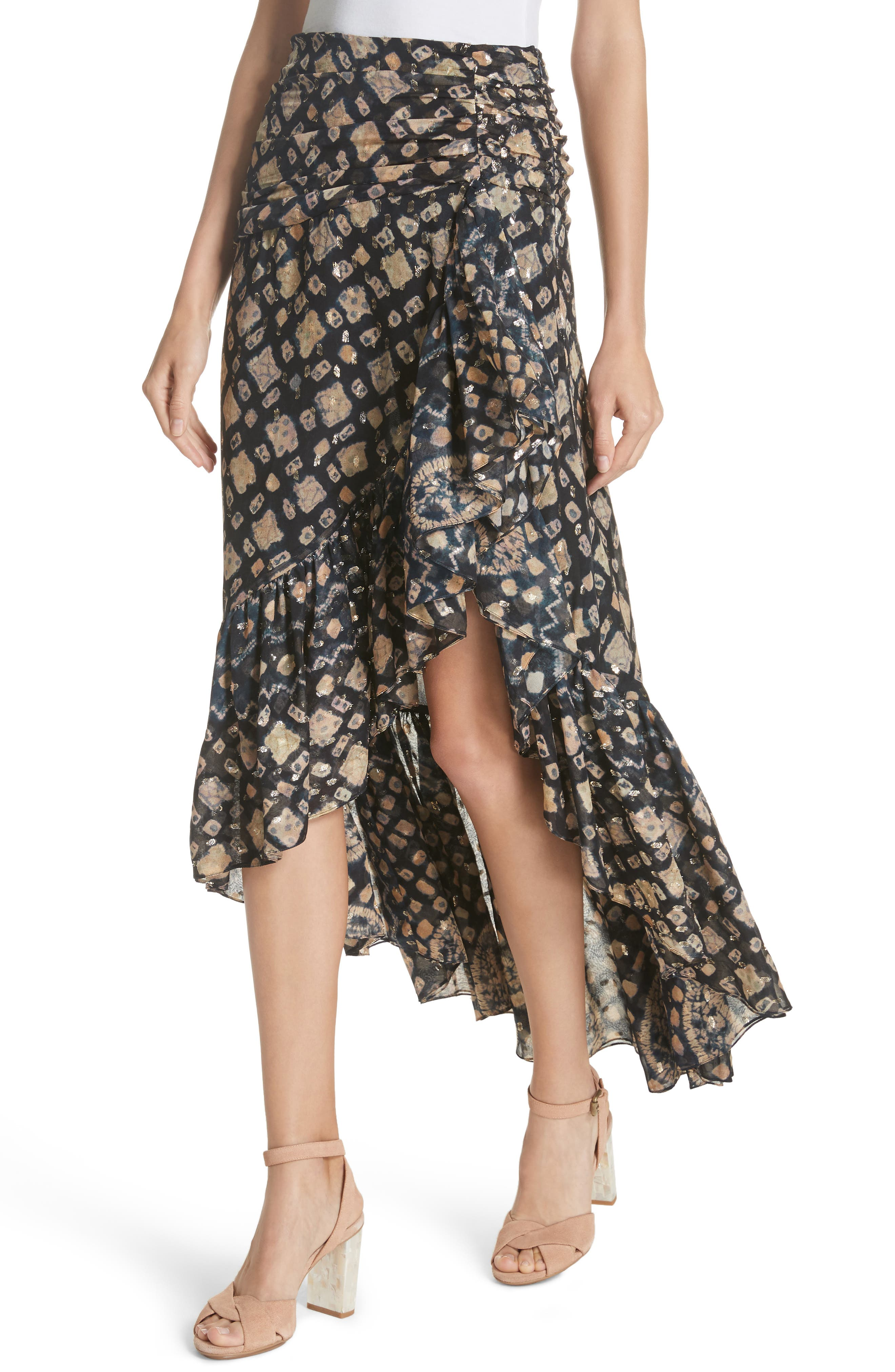 Ailie Silk Blend High/Low Skirt,                             Alternate thumbnail 4, color,                             MIDNIGHT