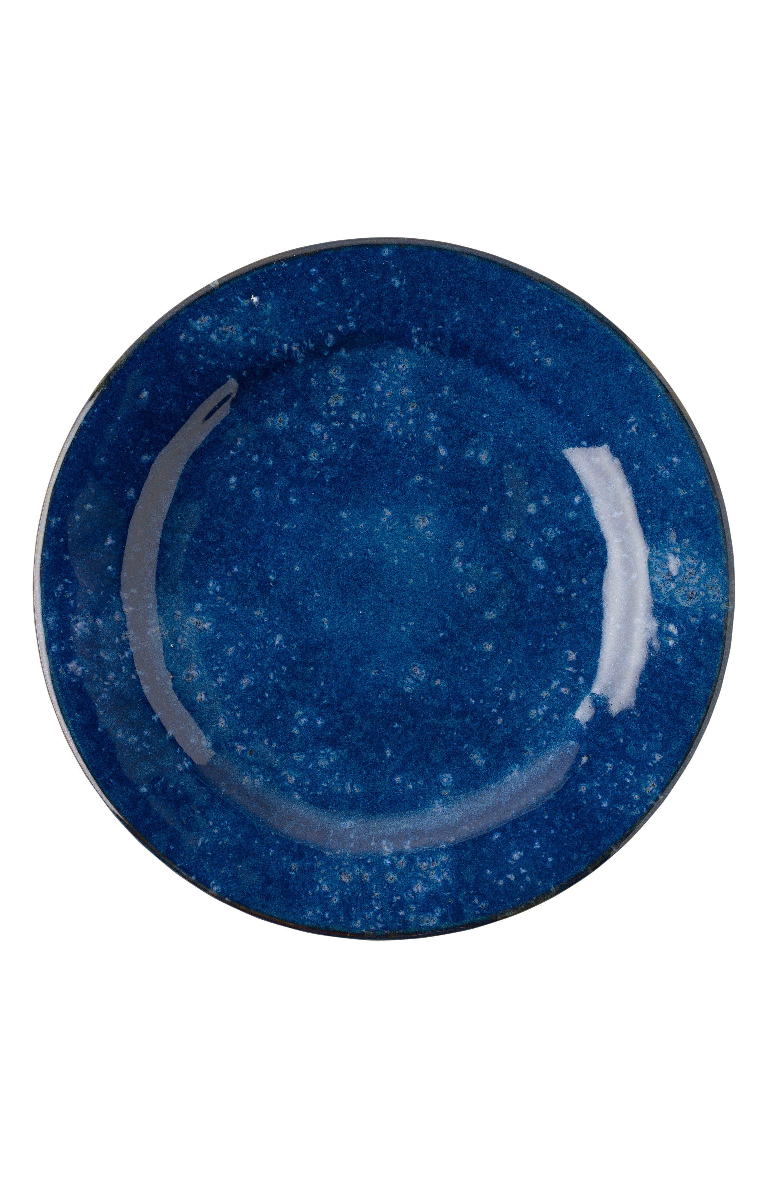 Puro Cobalt Ceramic Dinner Plate,                             Main thumbnail 1, color,                             DAPPLED COBALT