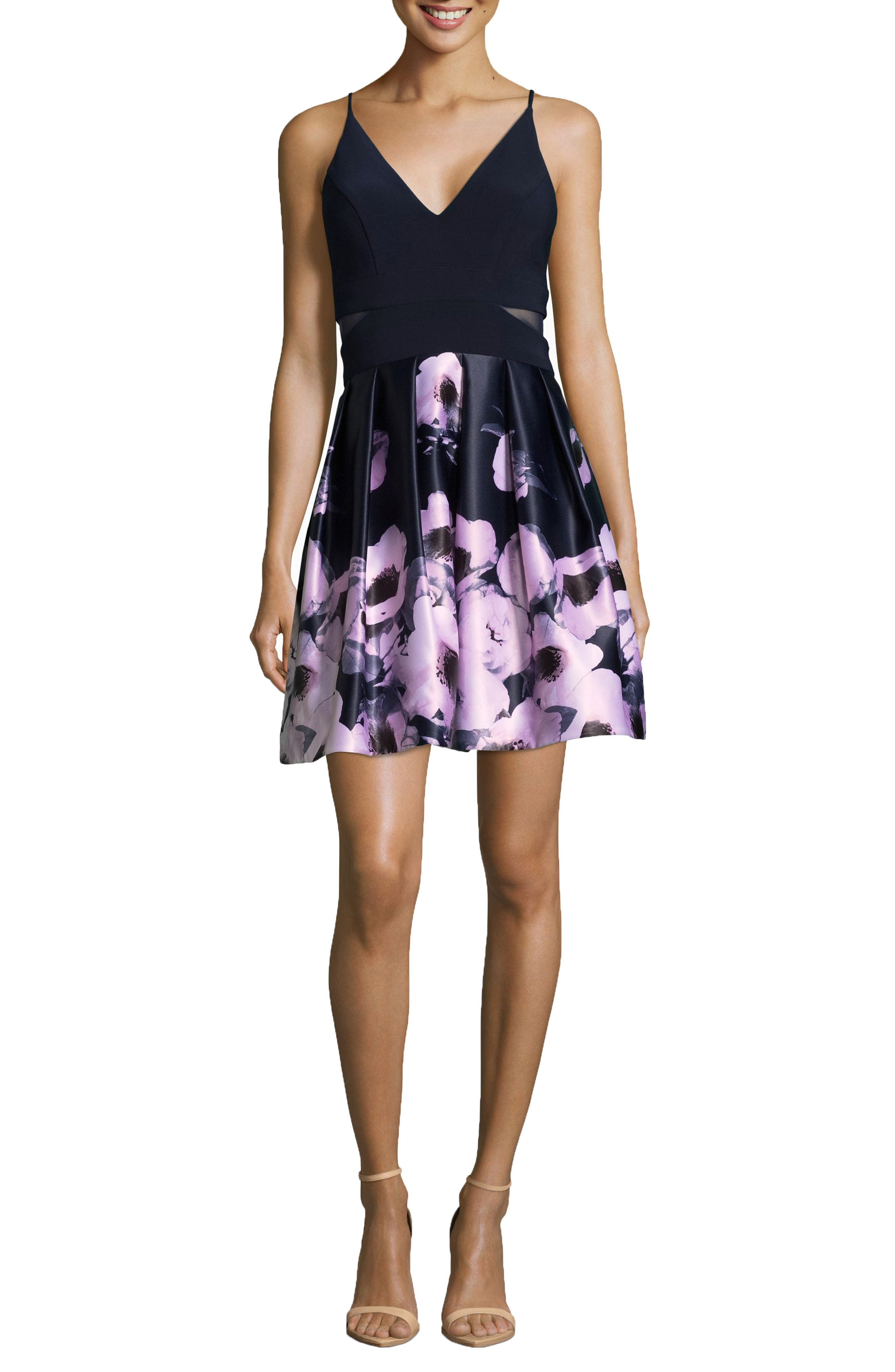 Floral Skirt Party Dress,                         Main,                         color, NAVY/ BLUSH