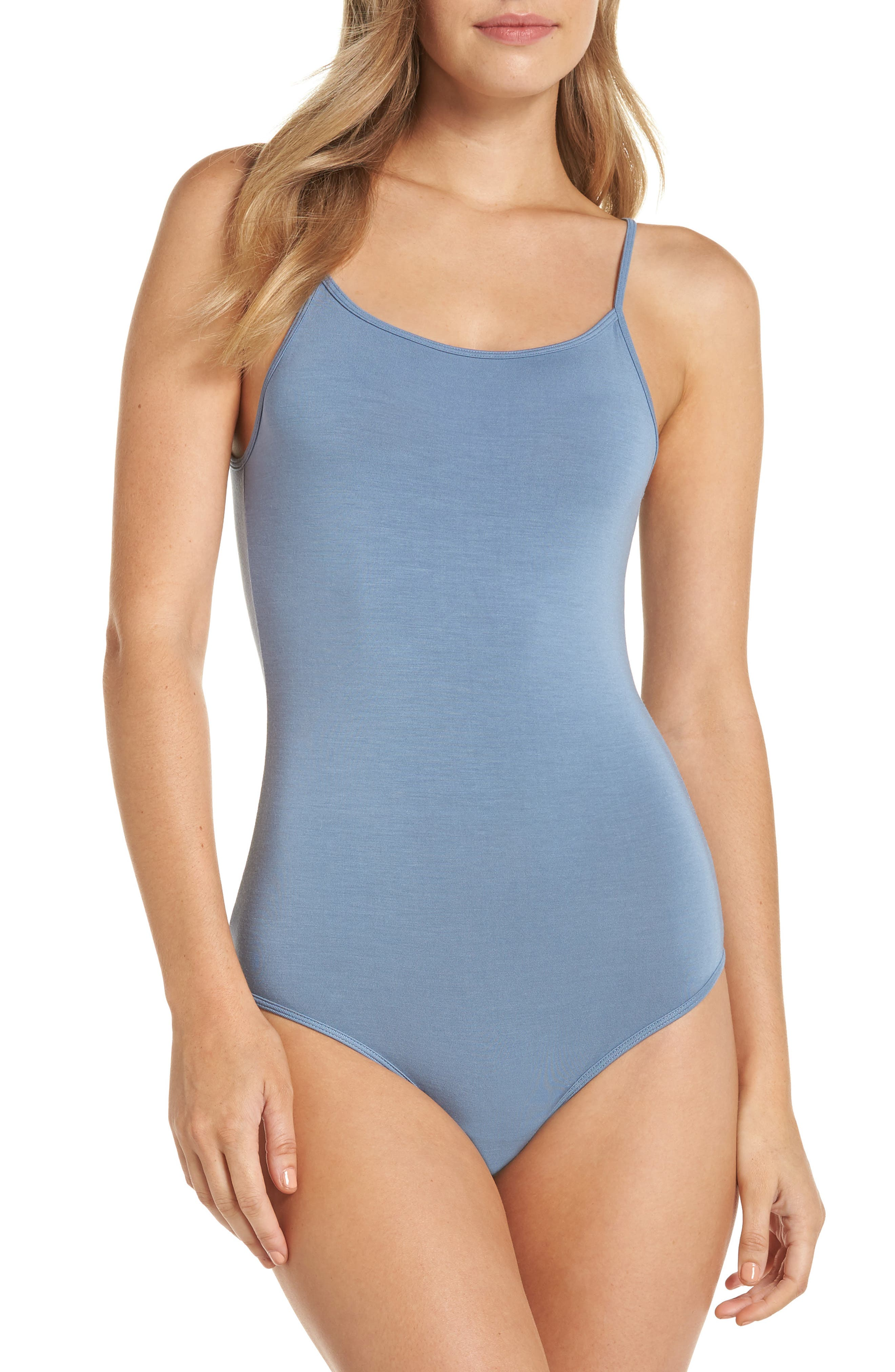 Scoop Back Thong Bodysuit,                         Main,                         color, CARBON BLUE