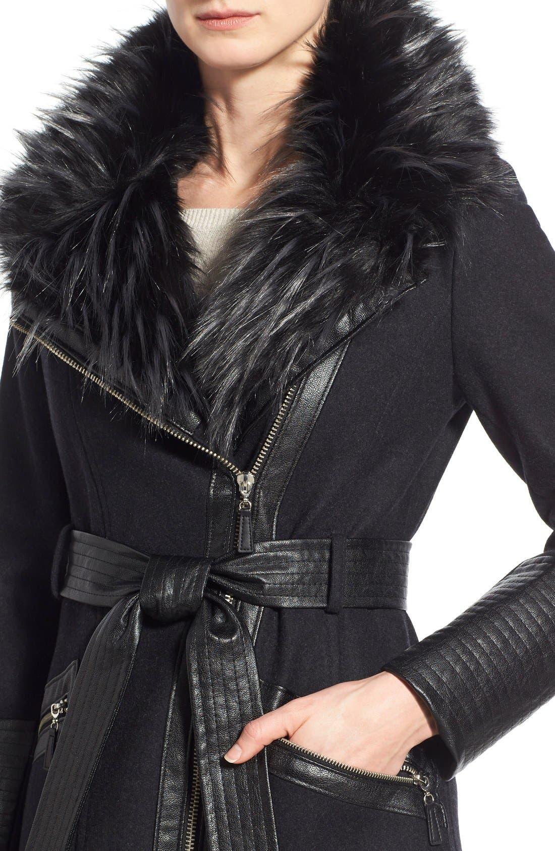 Faux Leather & Faux Fur Trim Belted Wool Blend Coat,                             Alternate thumbnail 35, color,
