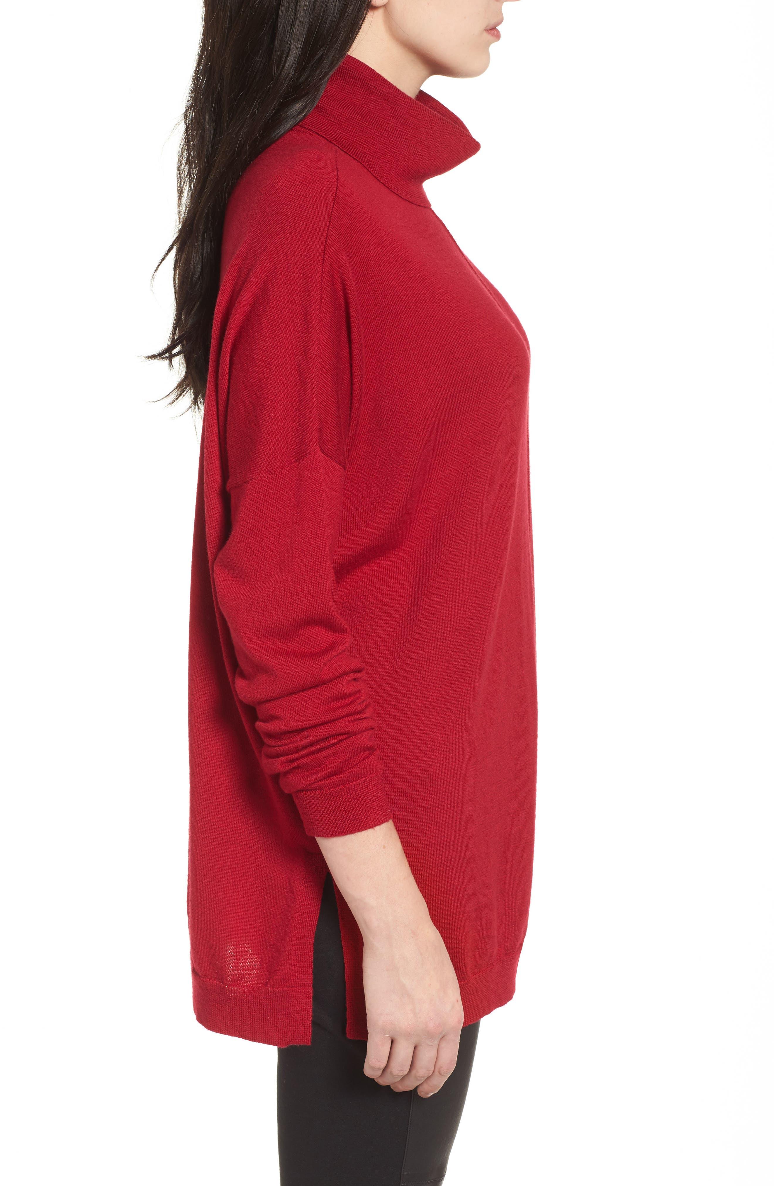 Merino Wool Boxy Turtleneck Sweater,                             Alternate thumbnail 18, color,