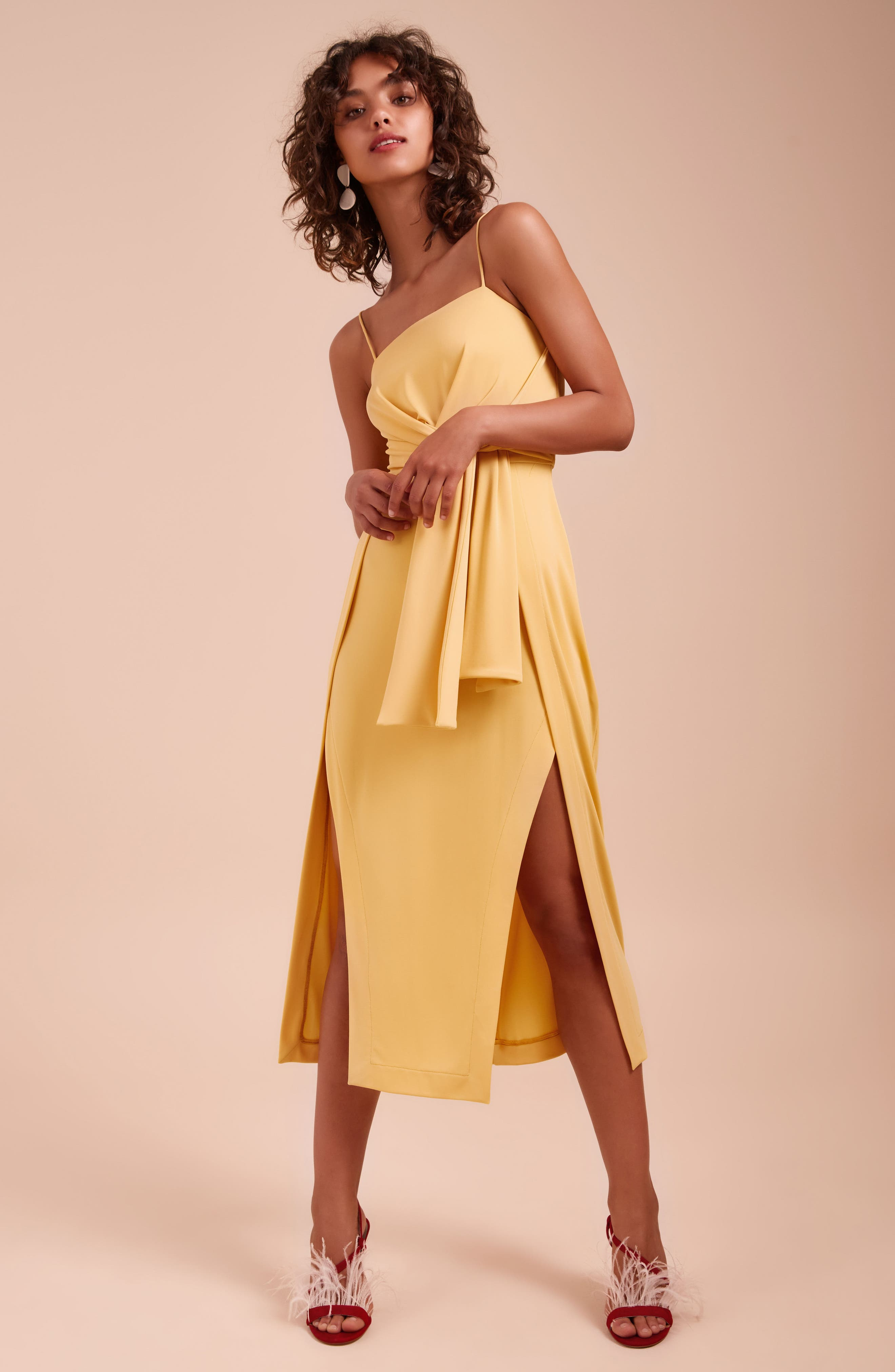 Recollect Slinky Side Tie Midi Dress,                             Alternate thumbnail 7, color,                             740