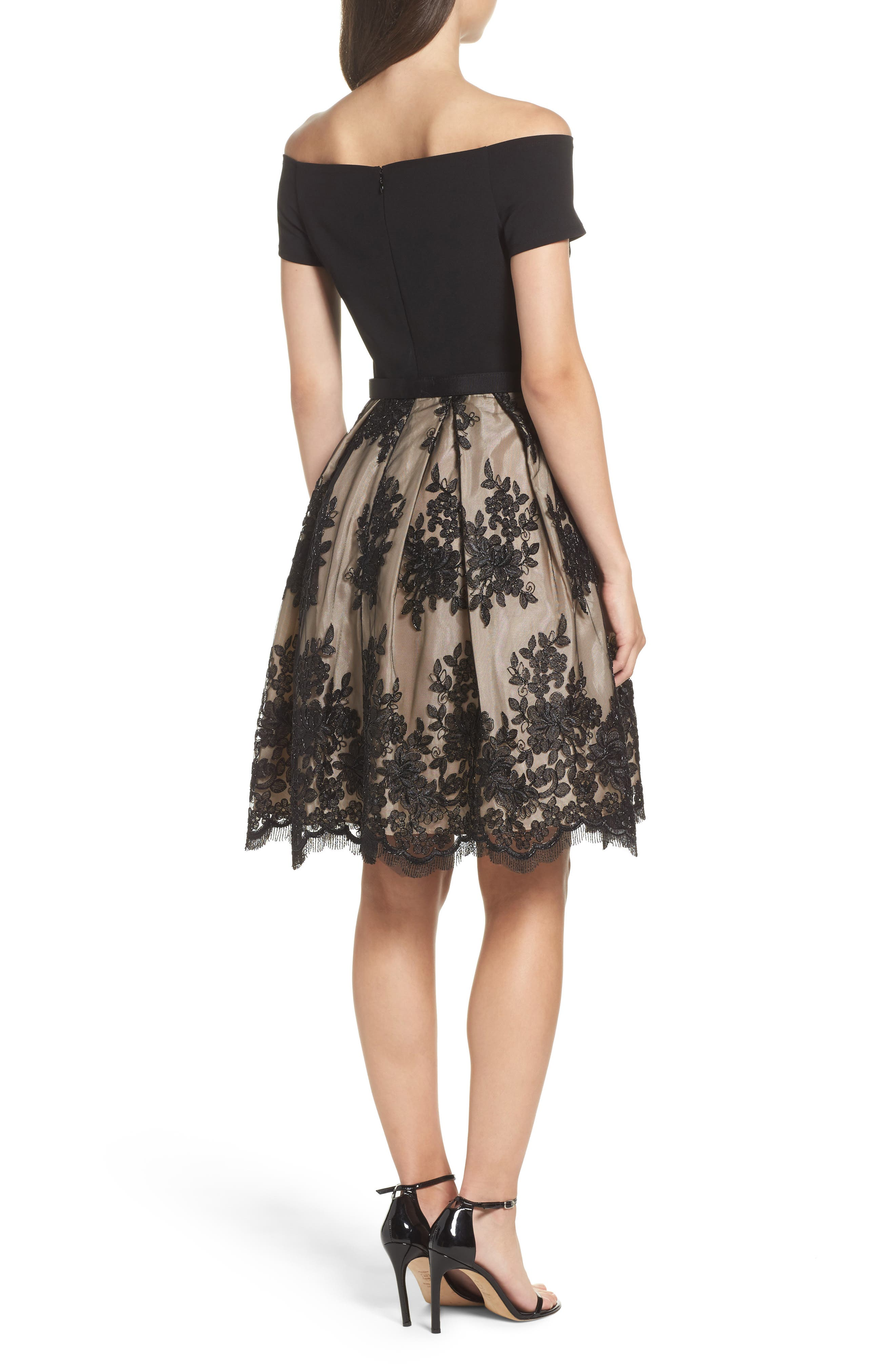 Off the Shoulder Lace Dress,                             Alternate thumbnail 2, color,                             006