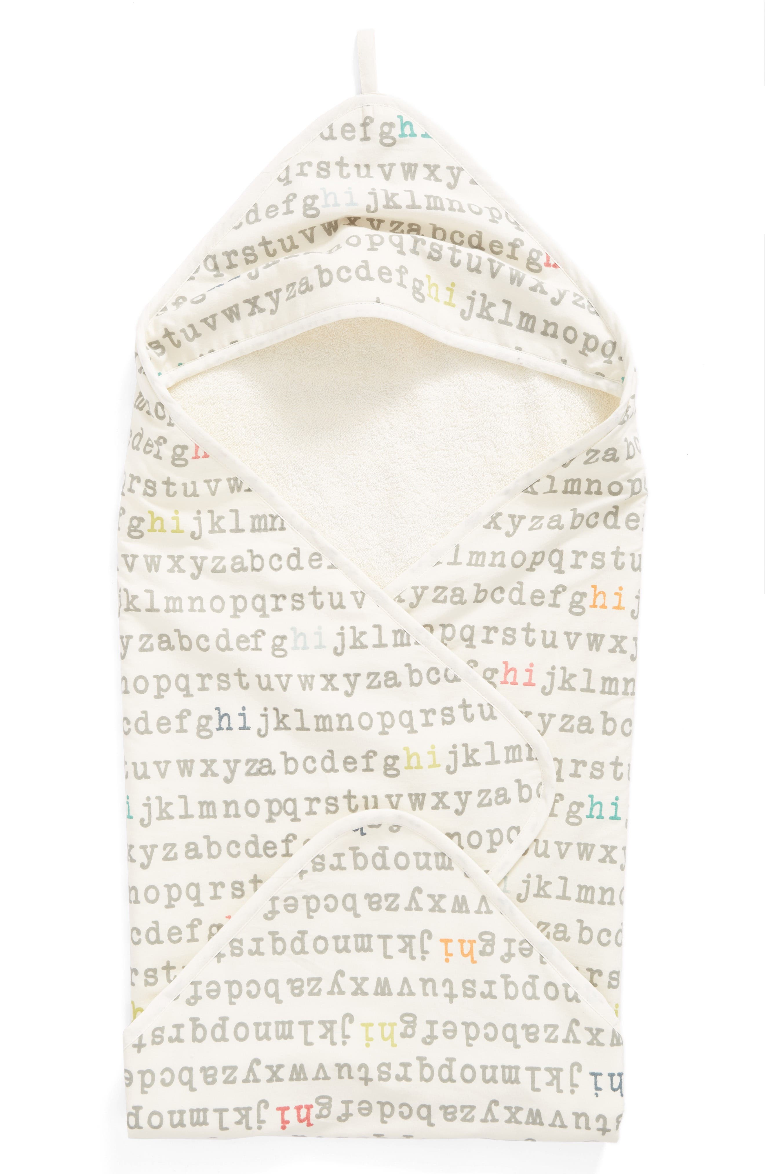 'Alphabet' Print Hooded Towel,                             Main thumbnail 1, color,                             259
