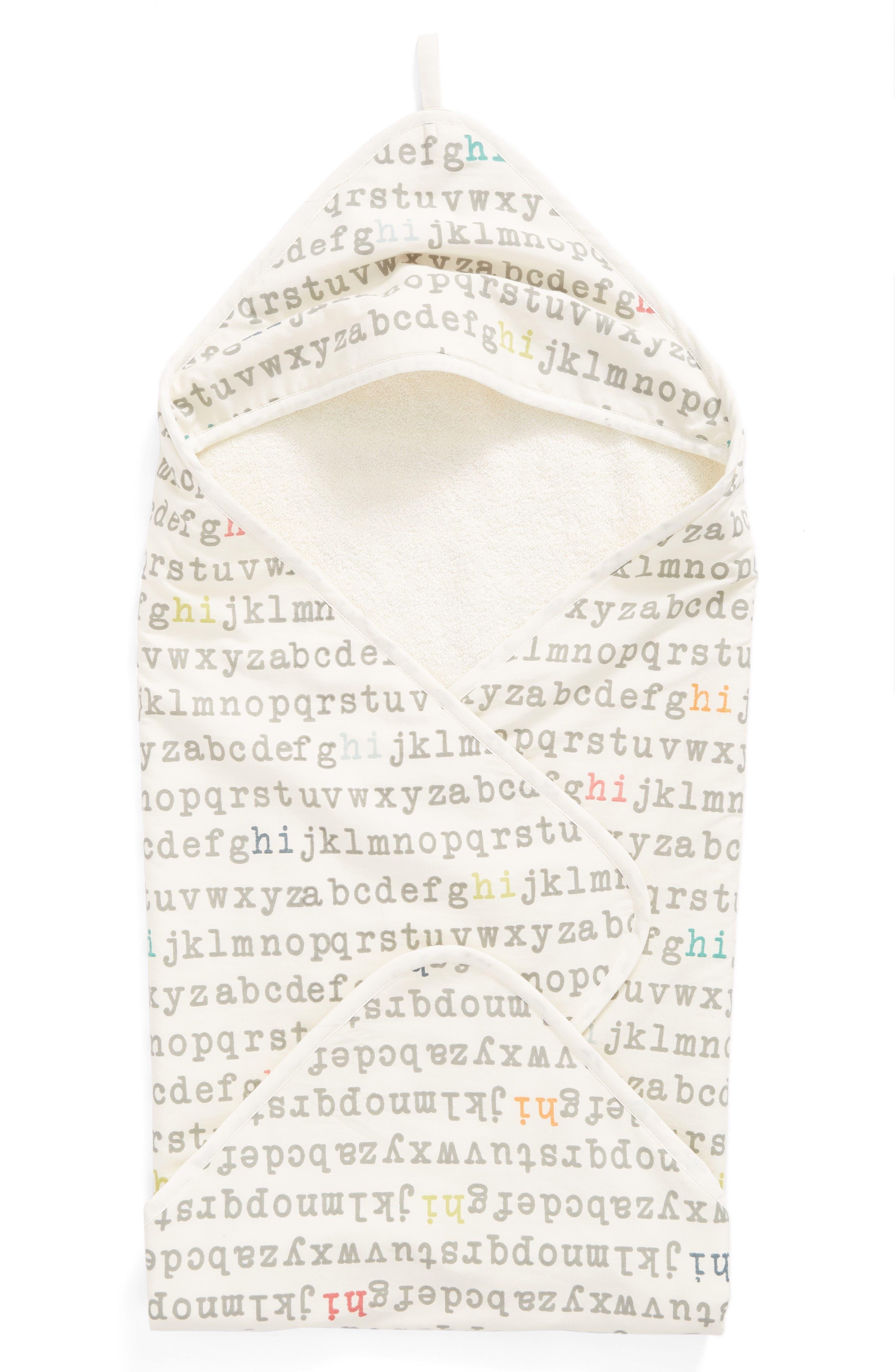 'Alphabet' Print Hooded Towel,                         Main,                         color, 259
