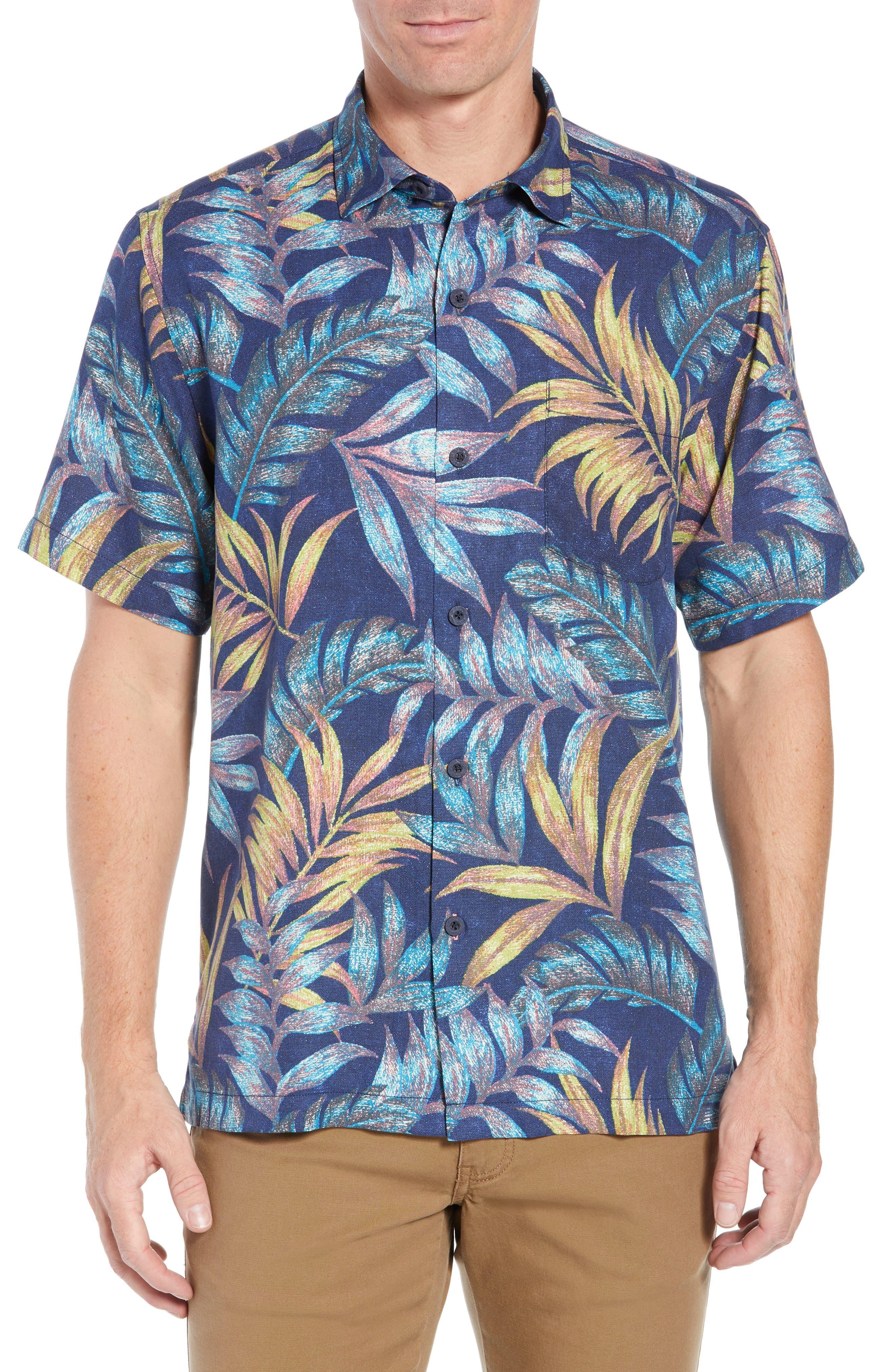 Parque Palms Sport Shirt,                         Main,                         color, RIVIERA AZURE