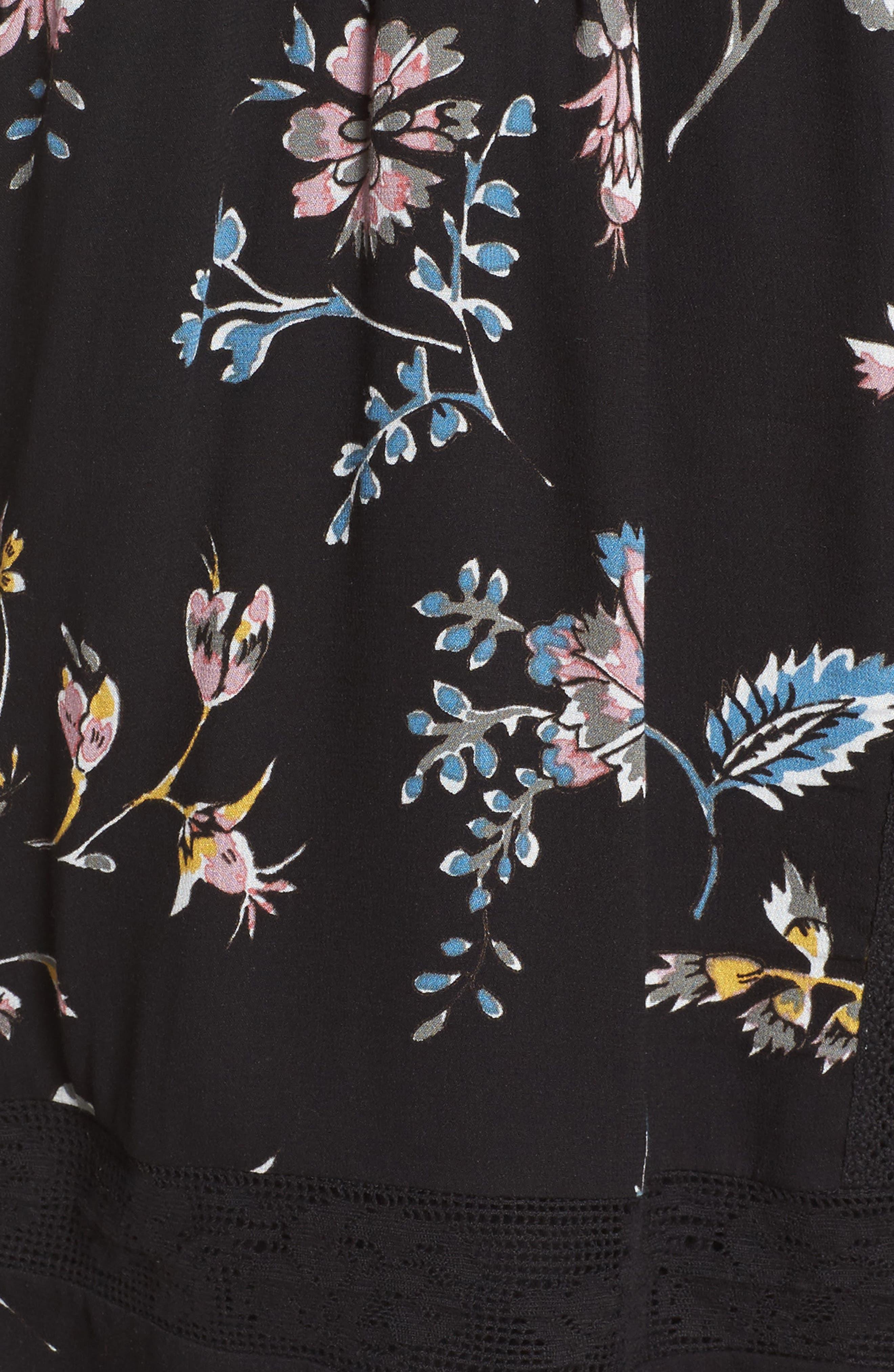 Lace Trim Floral Top,                             Alternate thumbnail 5, color,                             009