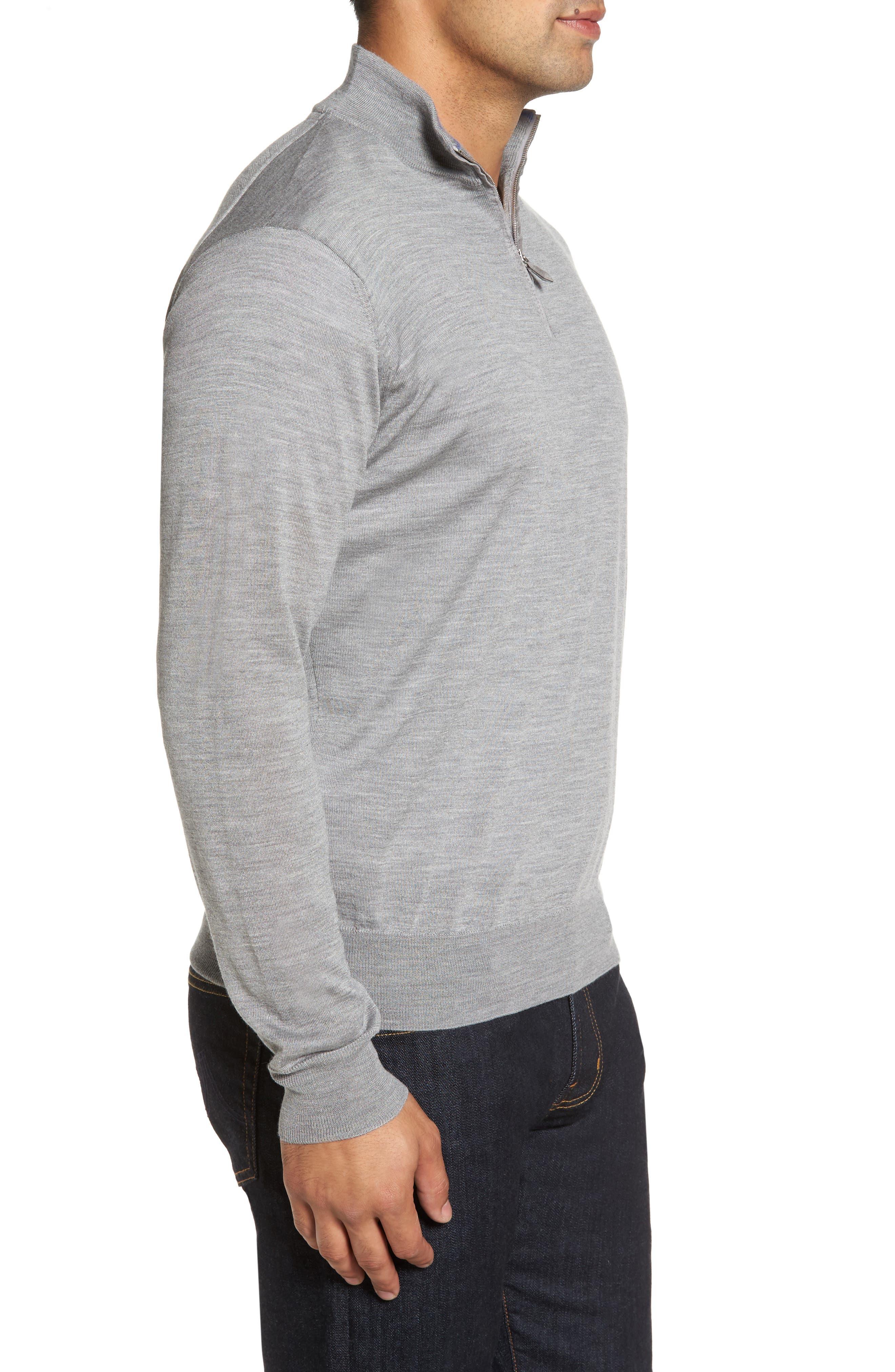 Wool Blend Quarter Zip Sweater,                             Alternate thumbnail 5, color,