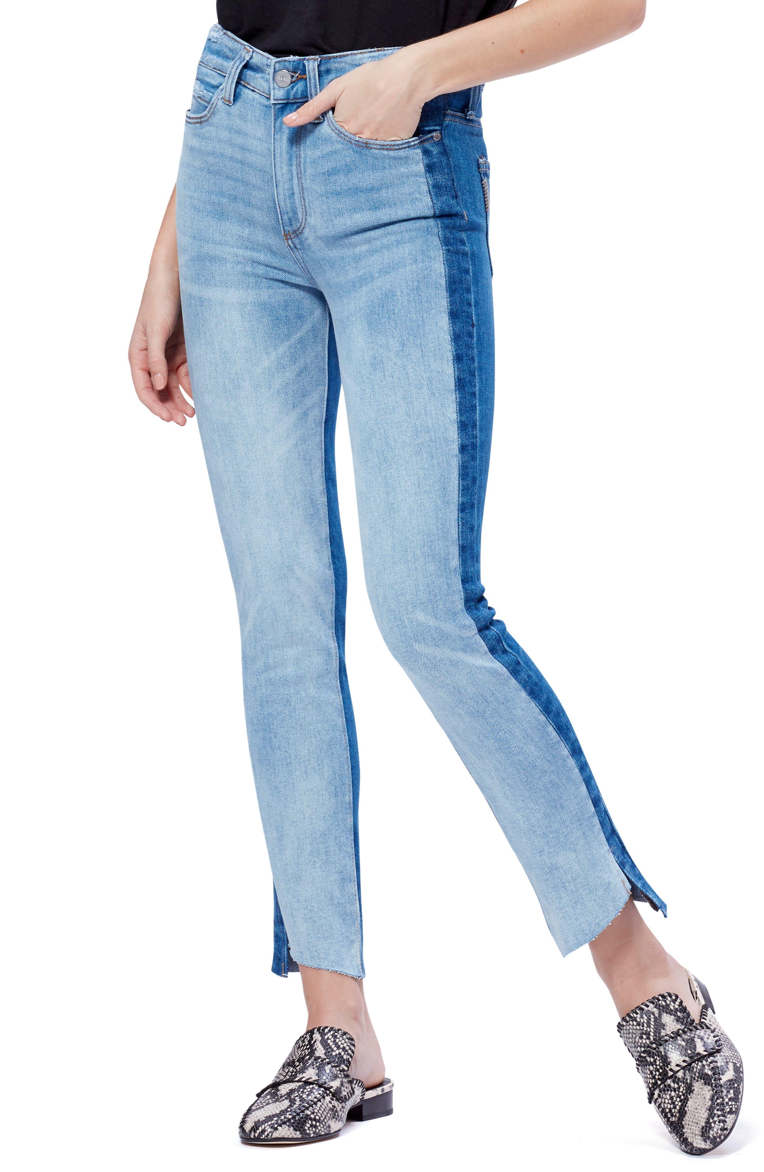 Paige Jeans HOXTON TWO-TONE HIGH WAIST SLIM JEANS